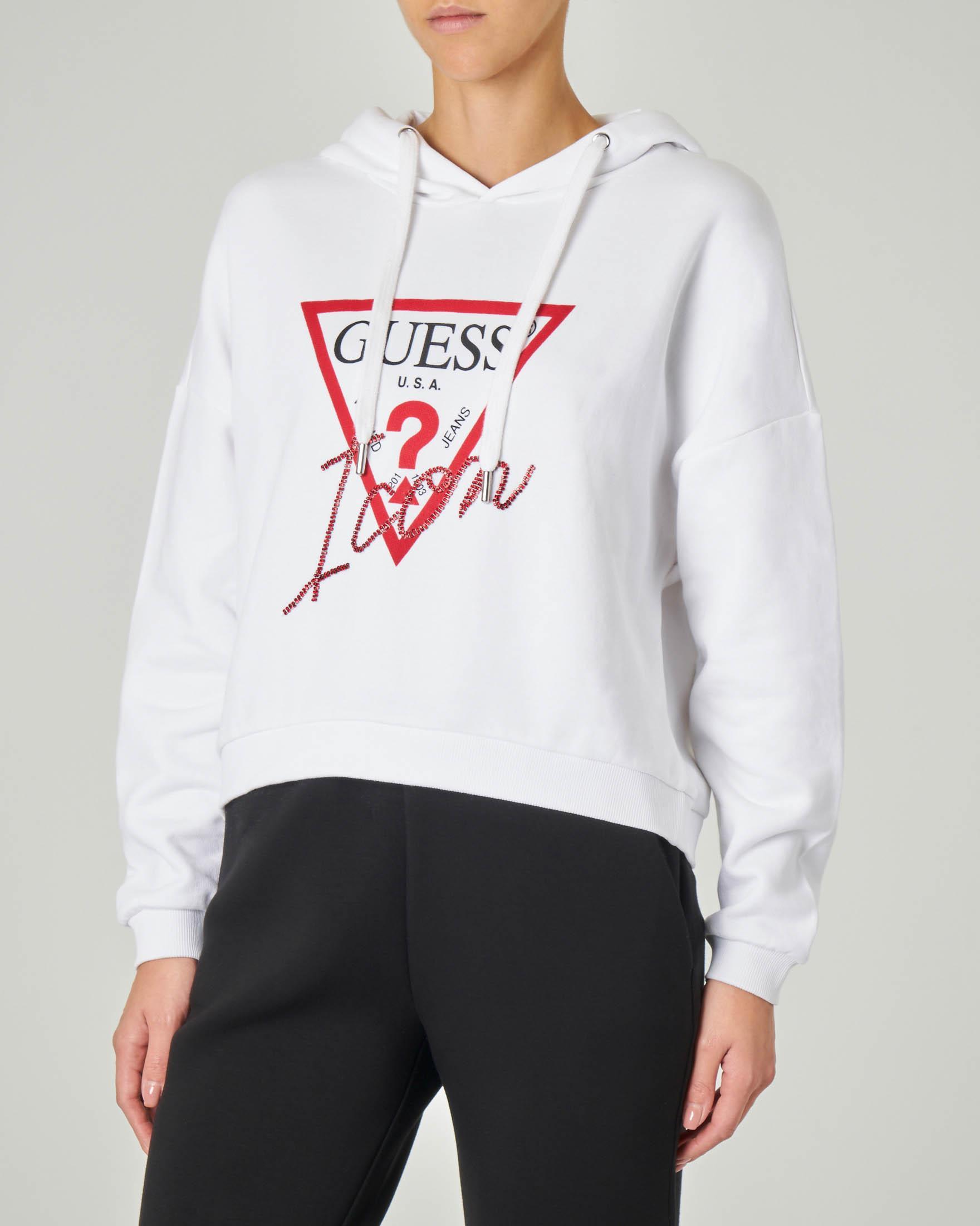 Felpa bianca in cotone con cappuccio e scritta logo in strass rossi
