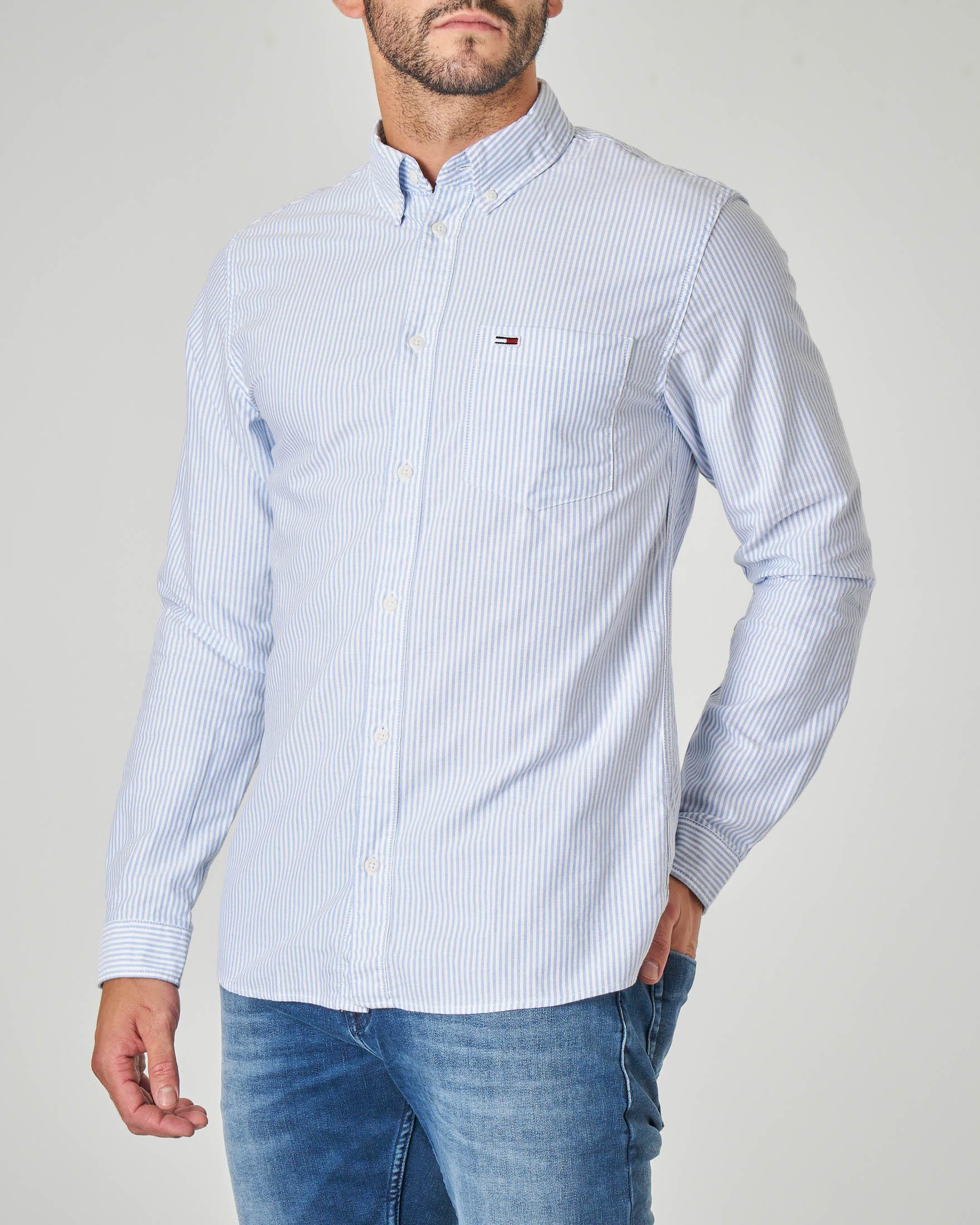 Camicia bastoncino bianco azzurro in Oxford di cotone