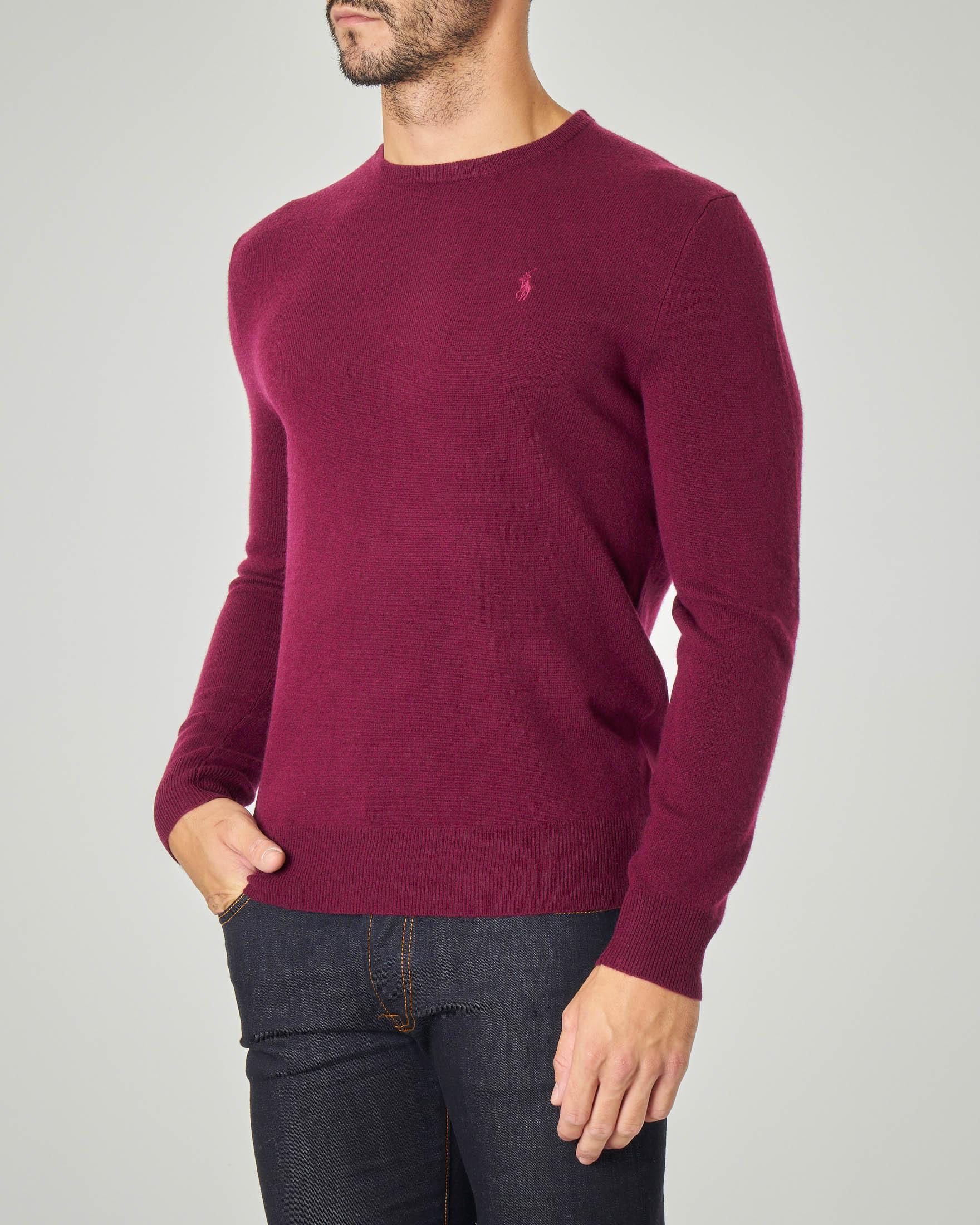 Maglia bordeaux girocollo in pura lana