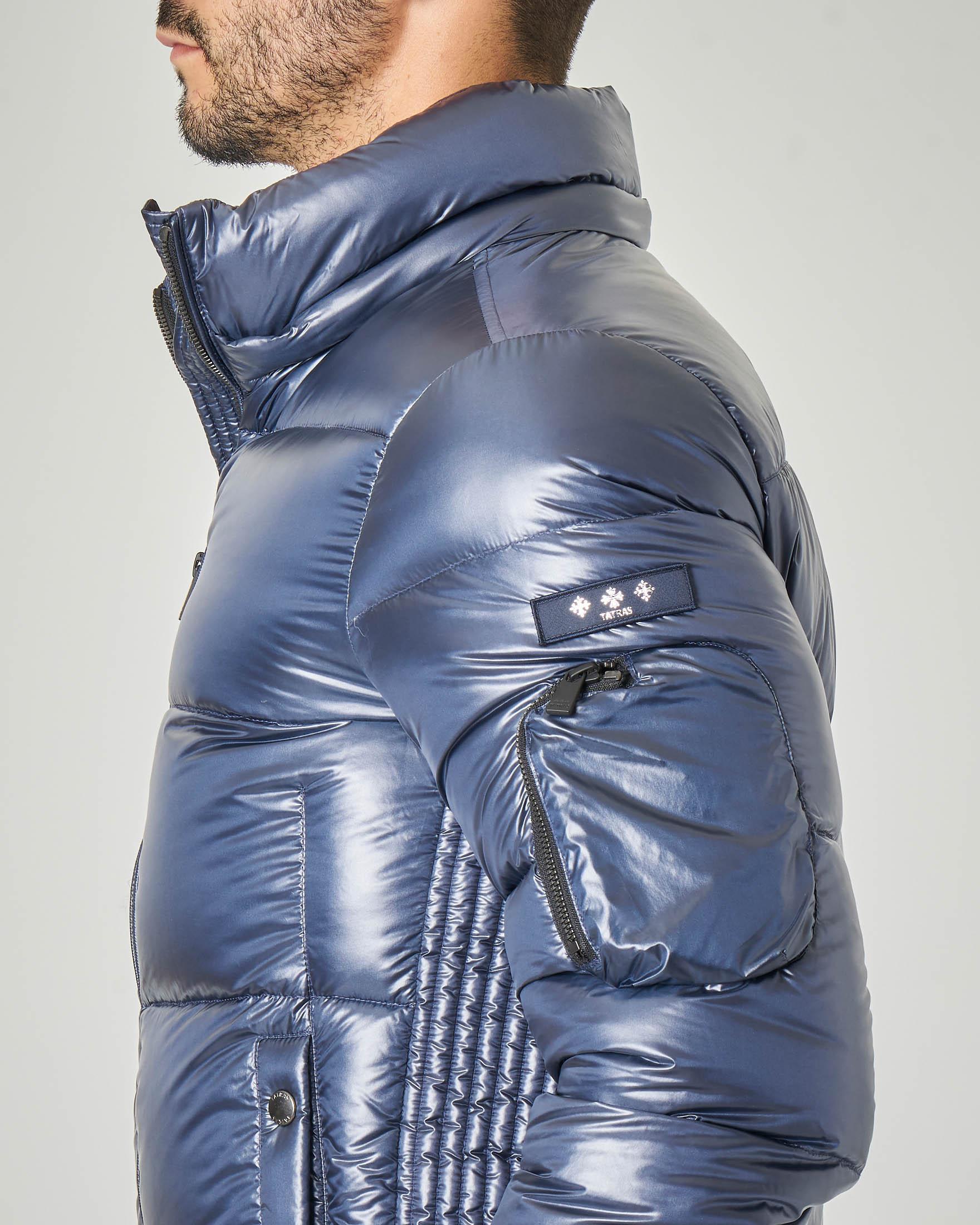 Piumino ultraleggero blu con cappuccio staccabile
