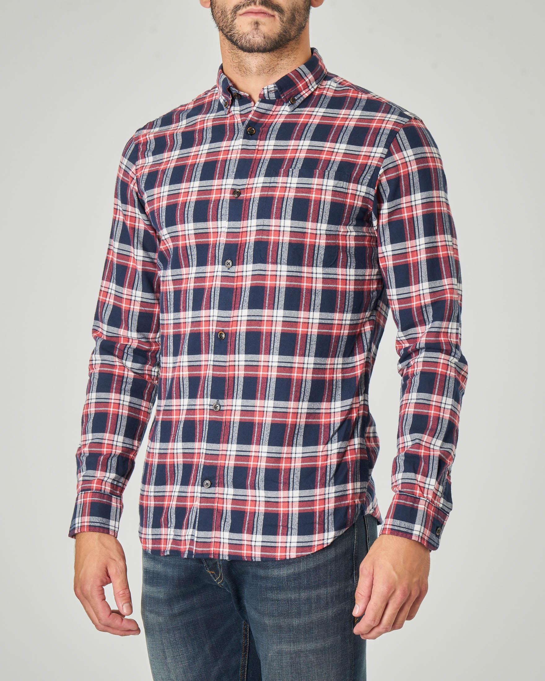 Camicia a quadri blu e rossa in flanella di cotone