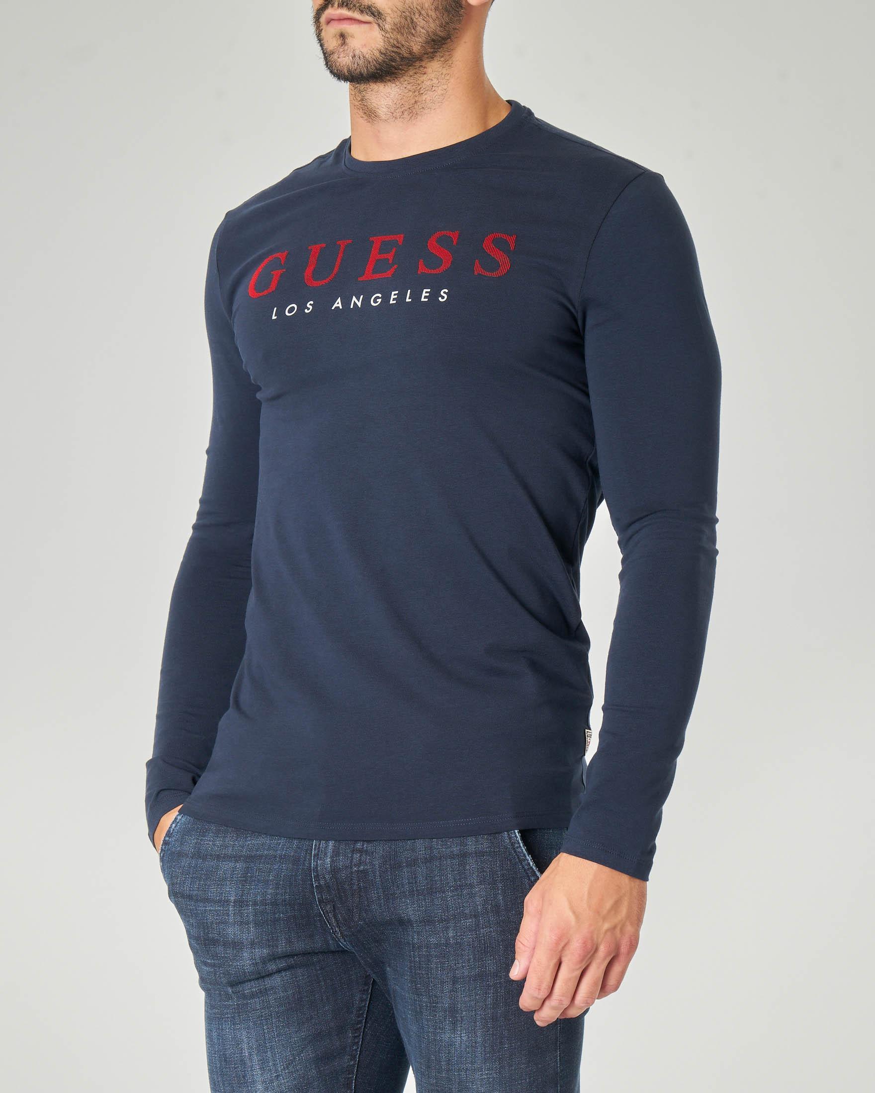 T-shirt blu manica lunga con logo rosso ricamato