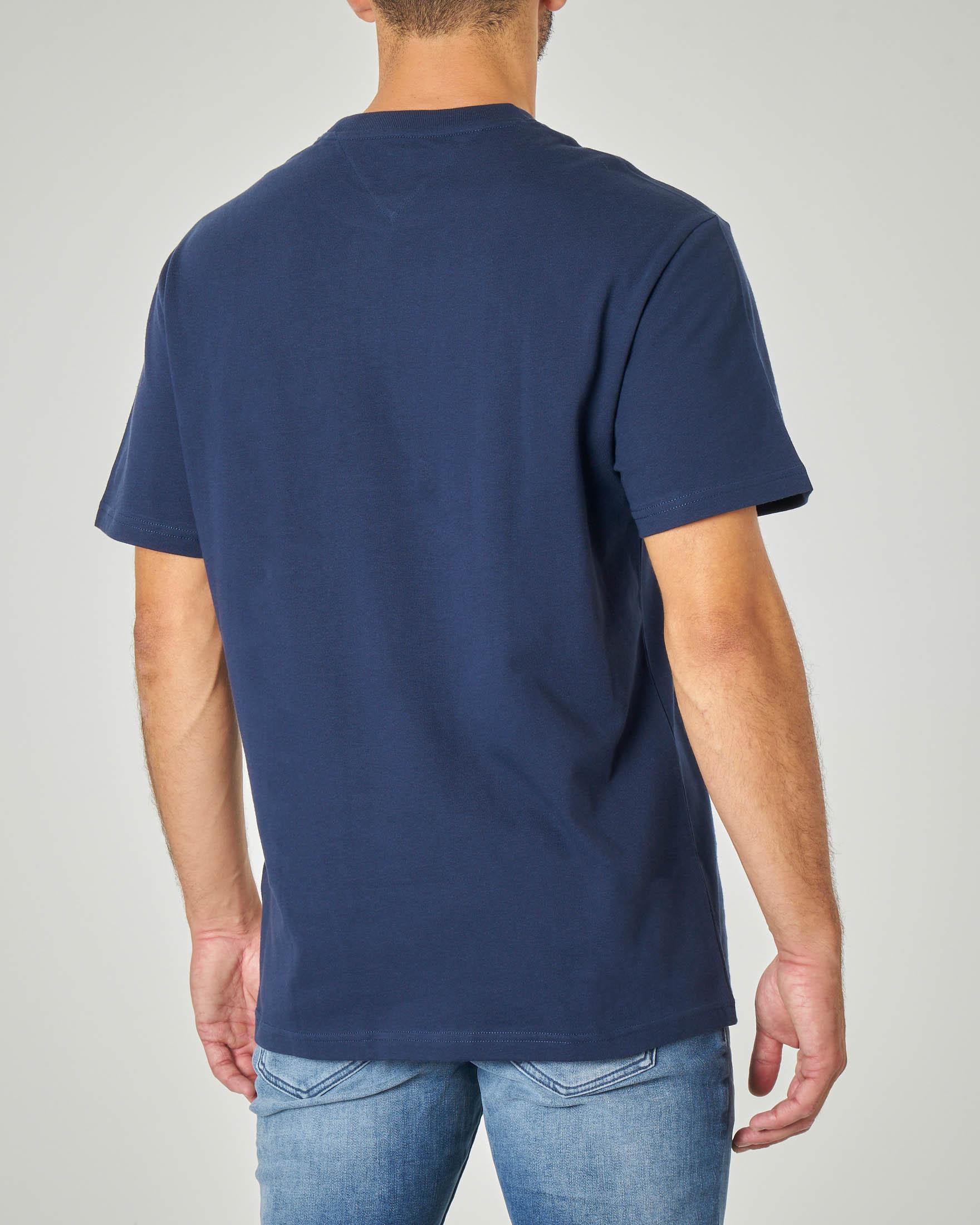 T-shirt blu mezza manica con logo e bandiera USA