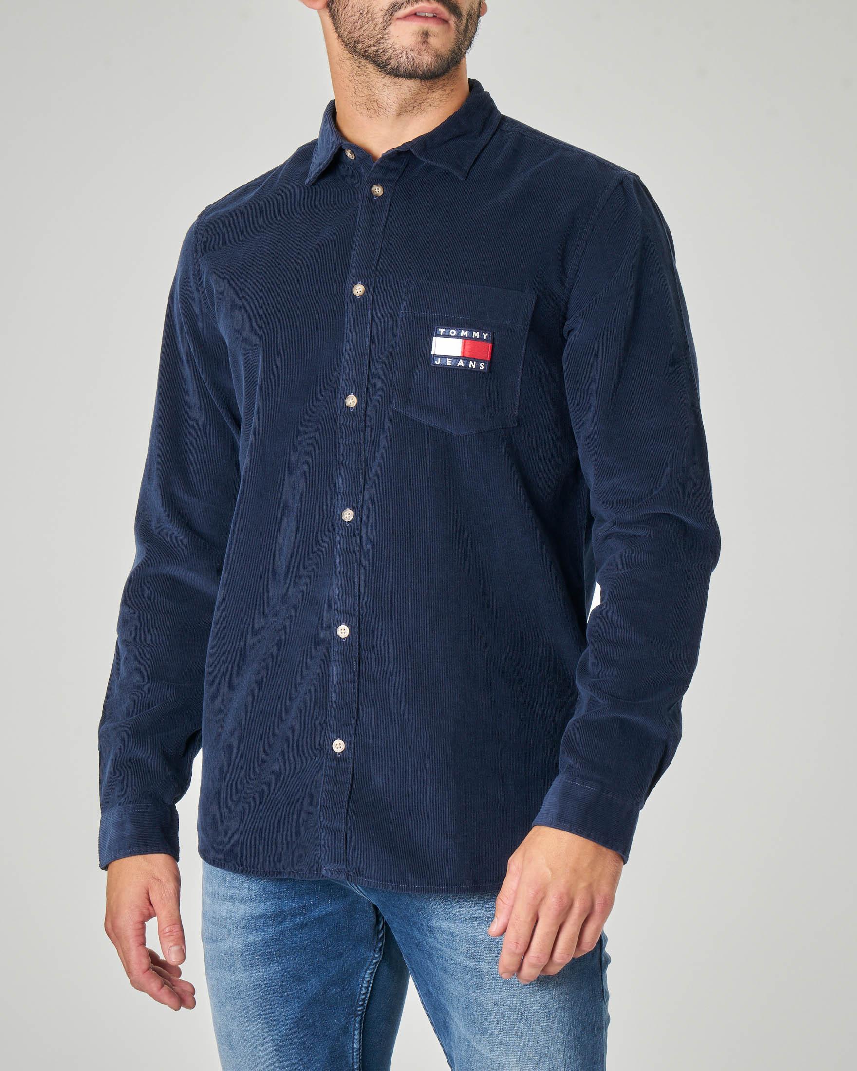 Camicia blu in velluto a costine
