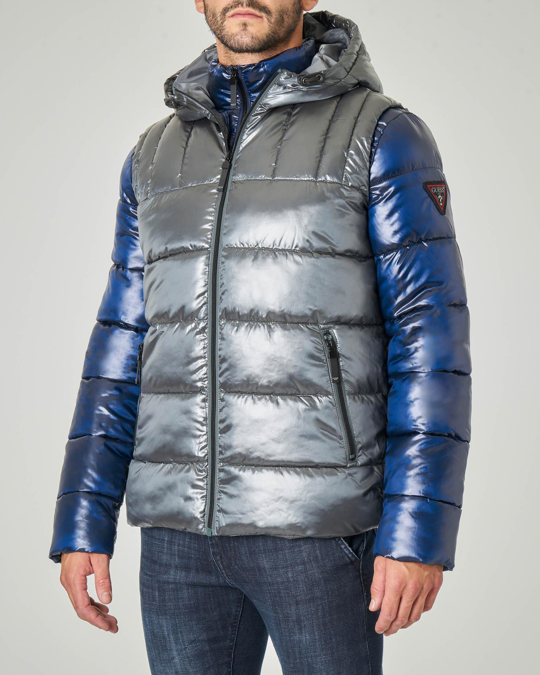 Doppia giacca composta da gilet grigio e piumino blu