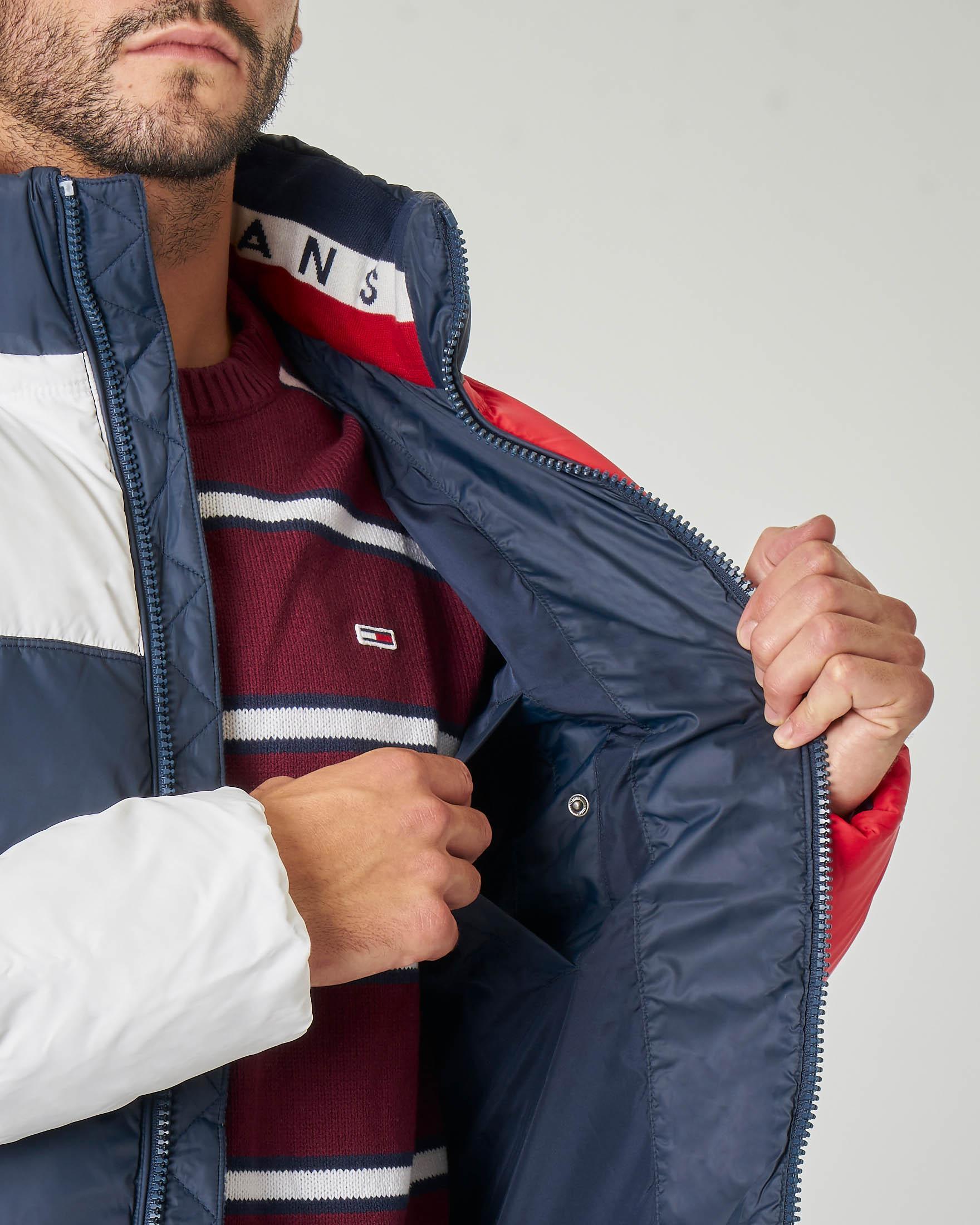 Piumino blu bianco e rosso con cappuccio staccabile | Pellizzari E commerce