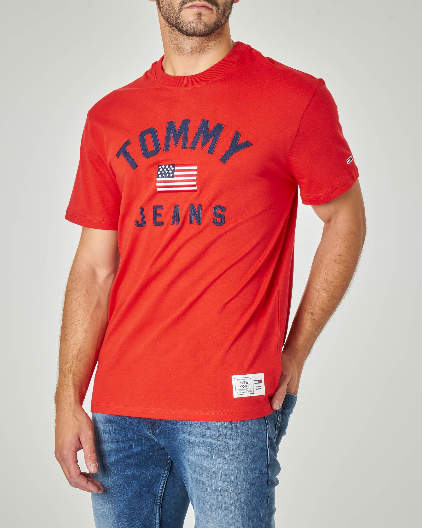 T-shirt rossa mezza manica con logo e bandiera USA