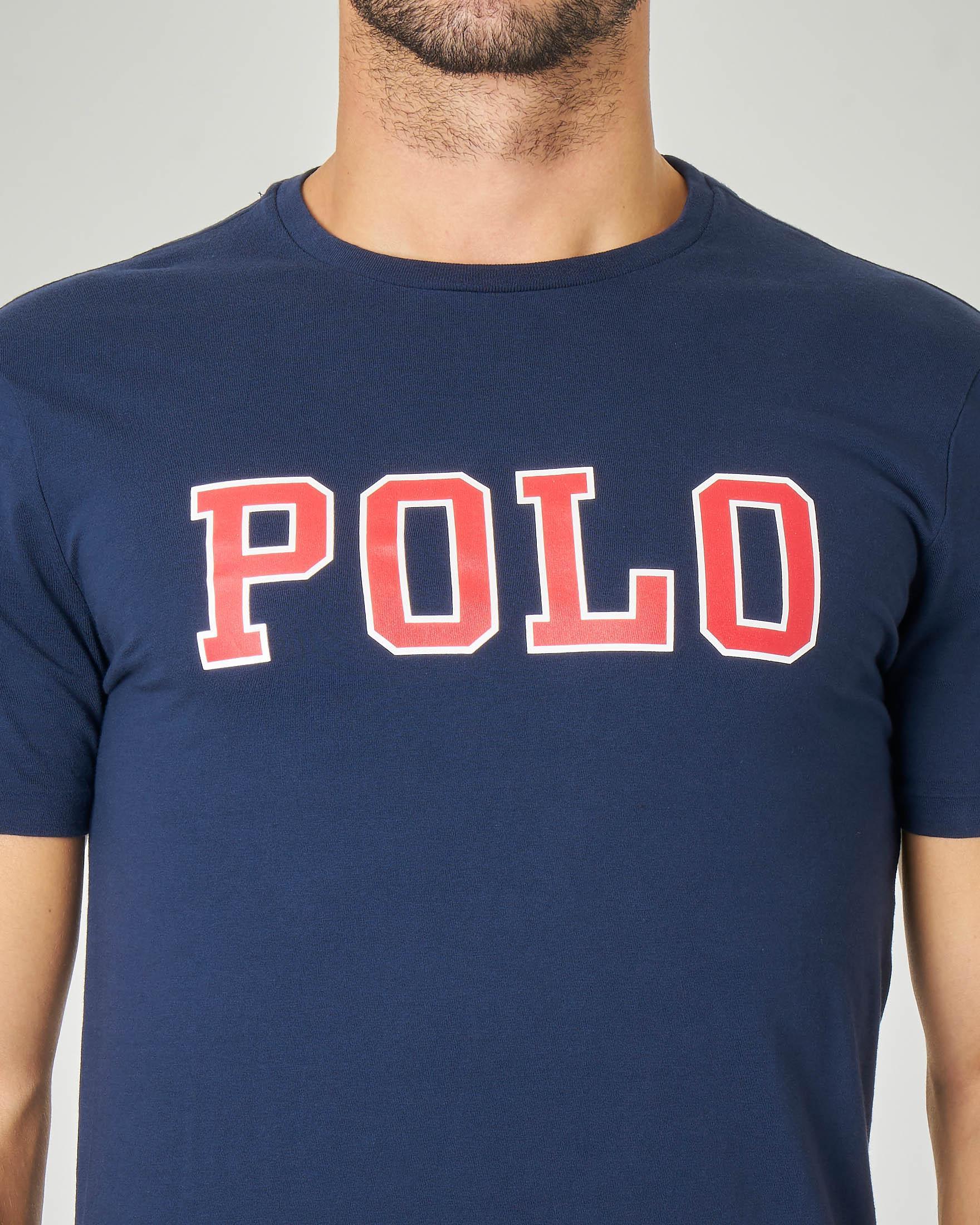 T-shirt blu mezza manica con logo Polo rosso stampato