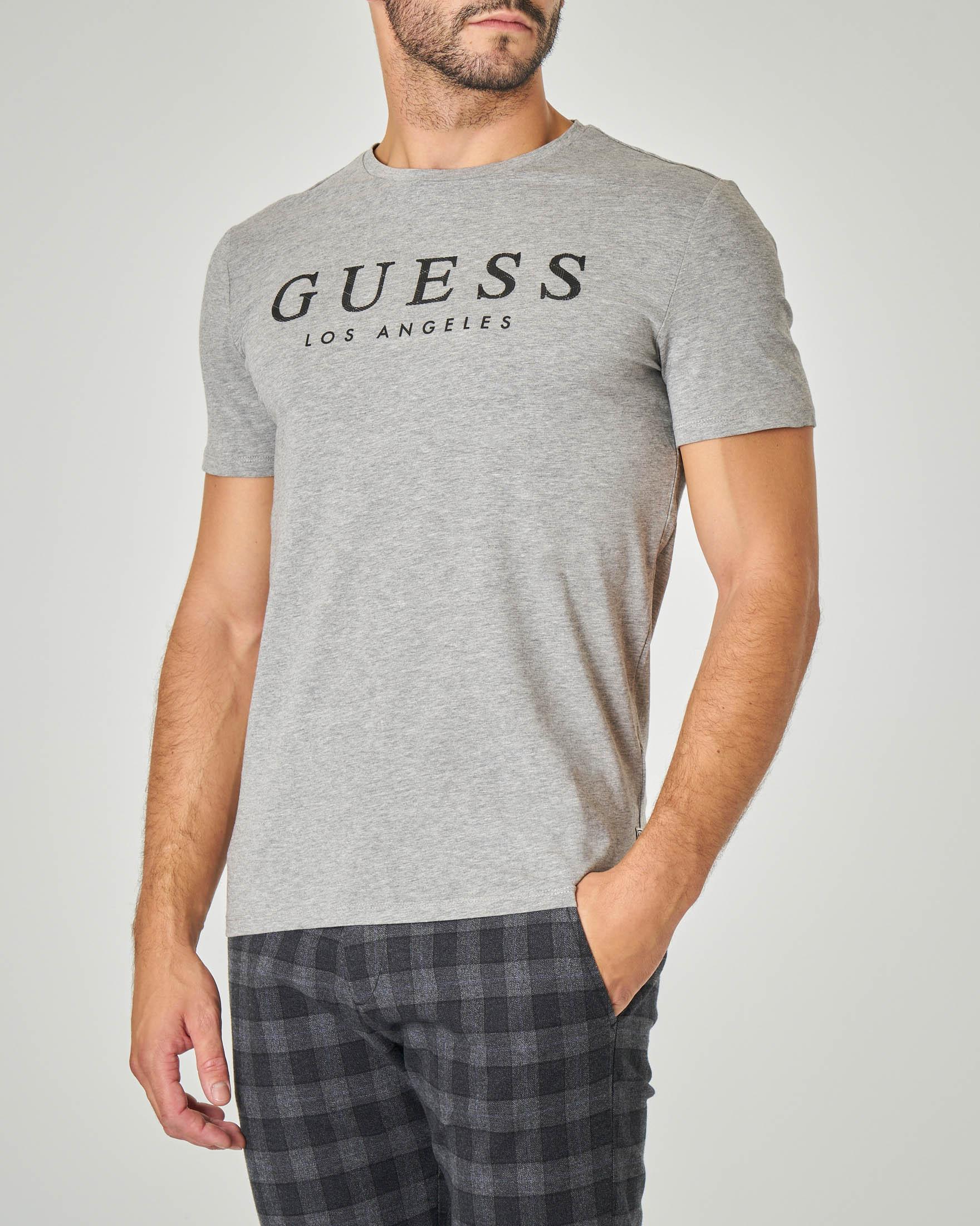 T-shirt grigia con logo gommato in cotone stretch