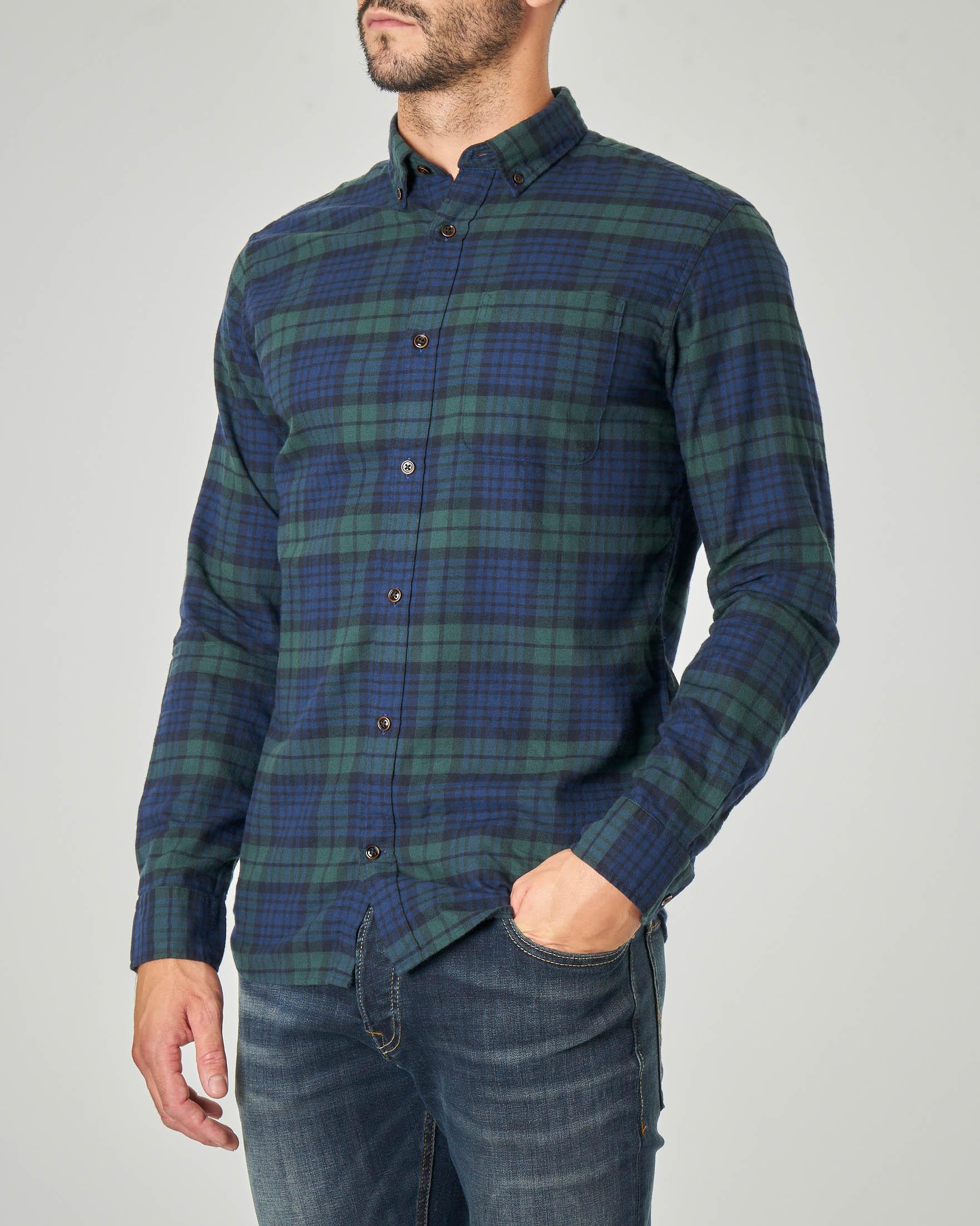 Camicia a quadri blu e verdi in flanella di cotone