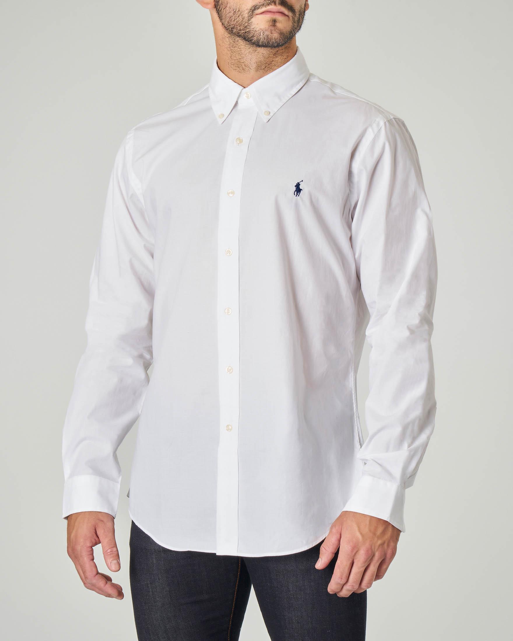 Camicia bianca button down in popeline di cotone