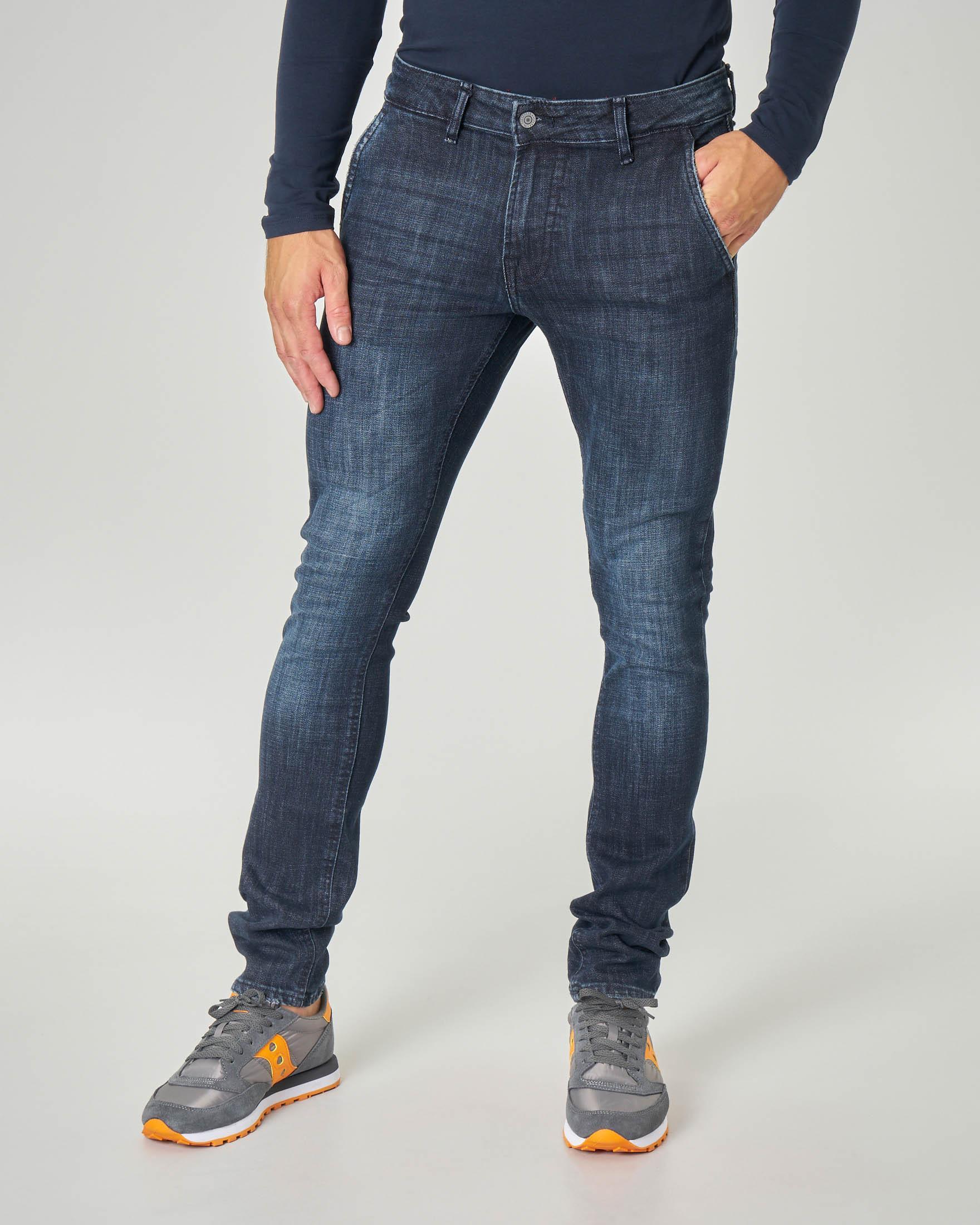 Jeans tasca america lavaggio blu scuro stone wash