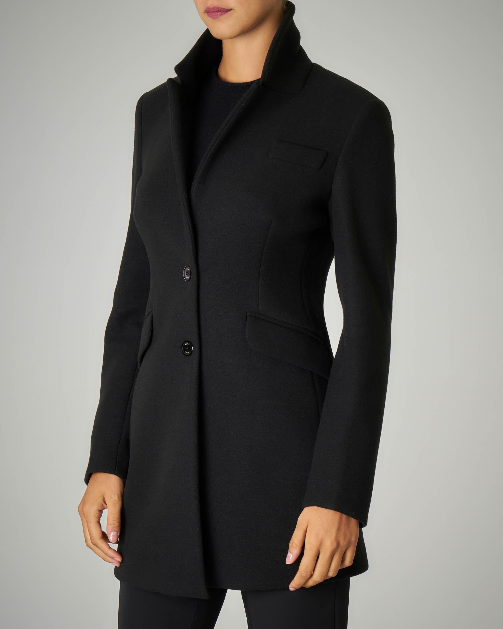 Cappotto nero doppiopetto con cintura in vita e falda sulla schiena 10 16 anni | Pellizzari E commerce