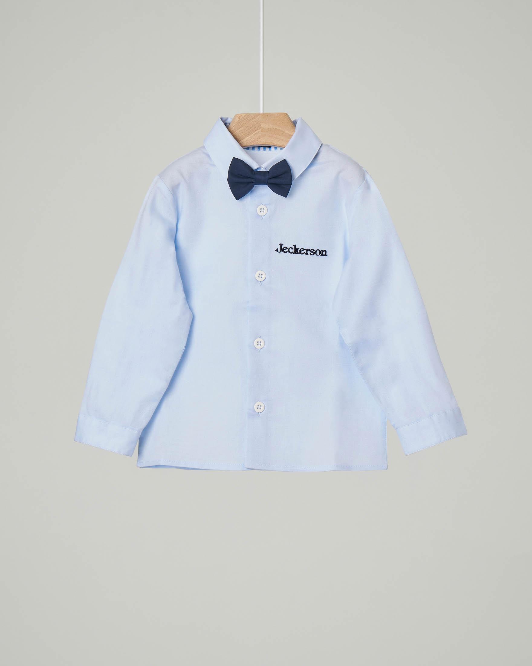 Camicia azzurra in Oxford di cotone con papillon abbinato 6-18 mesi