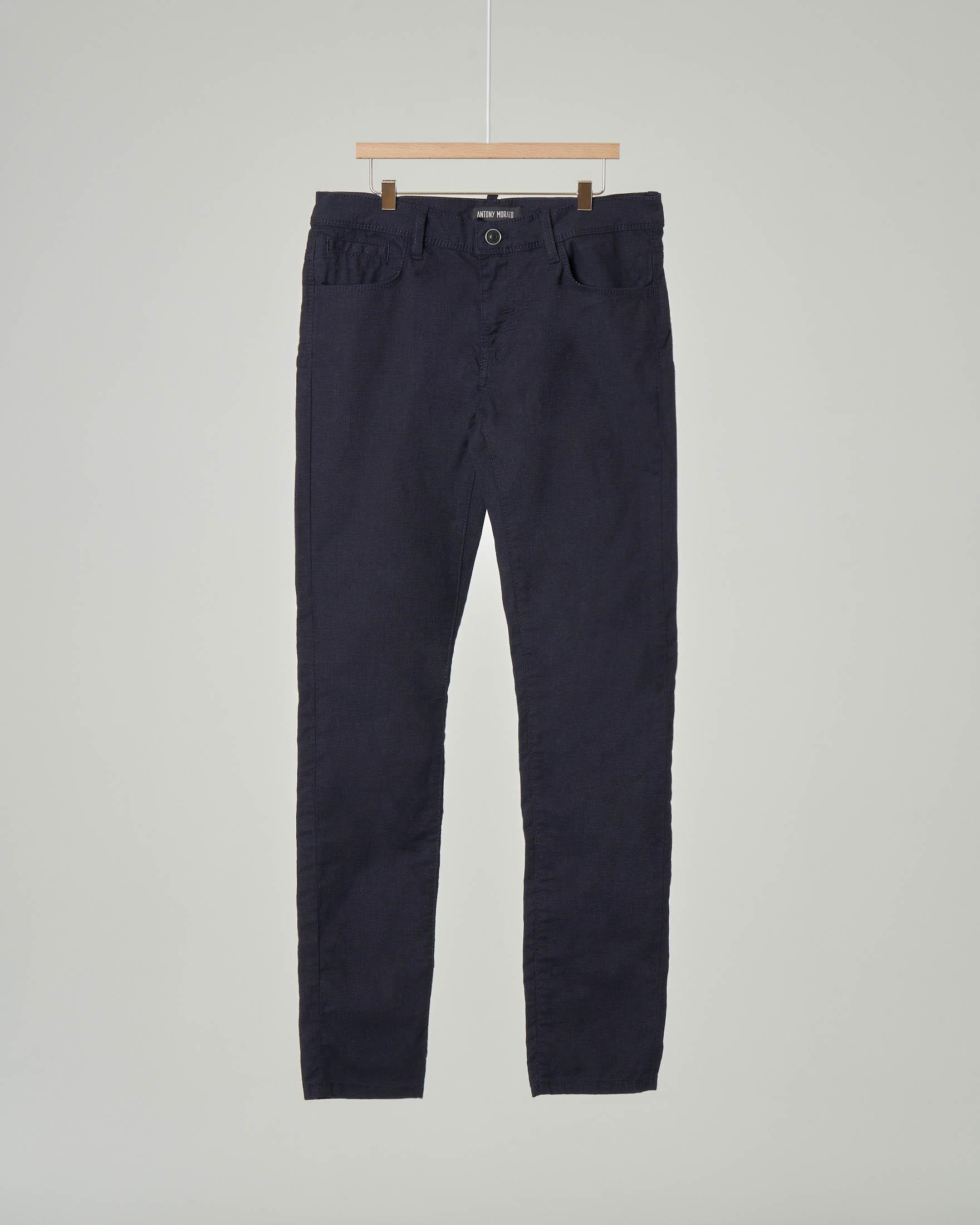 Pantalone cinque tasche blu in cotone elasticizzato 10-16