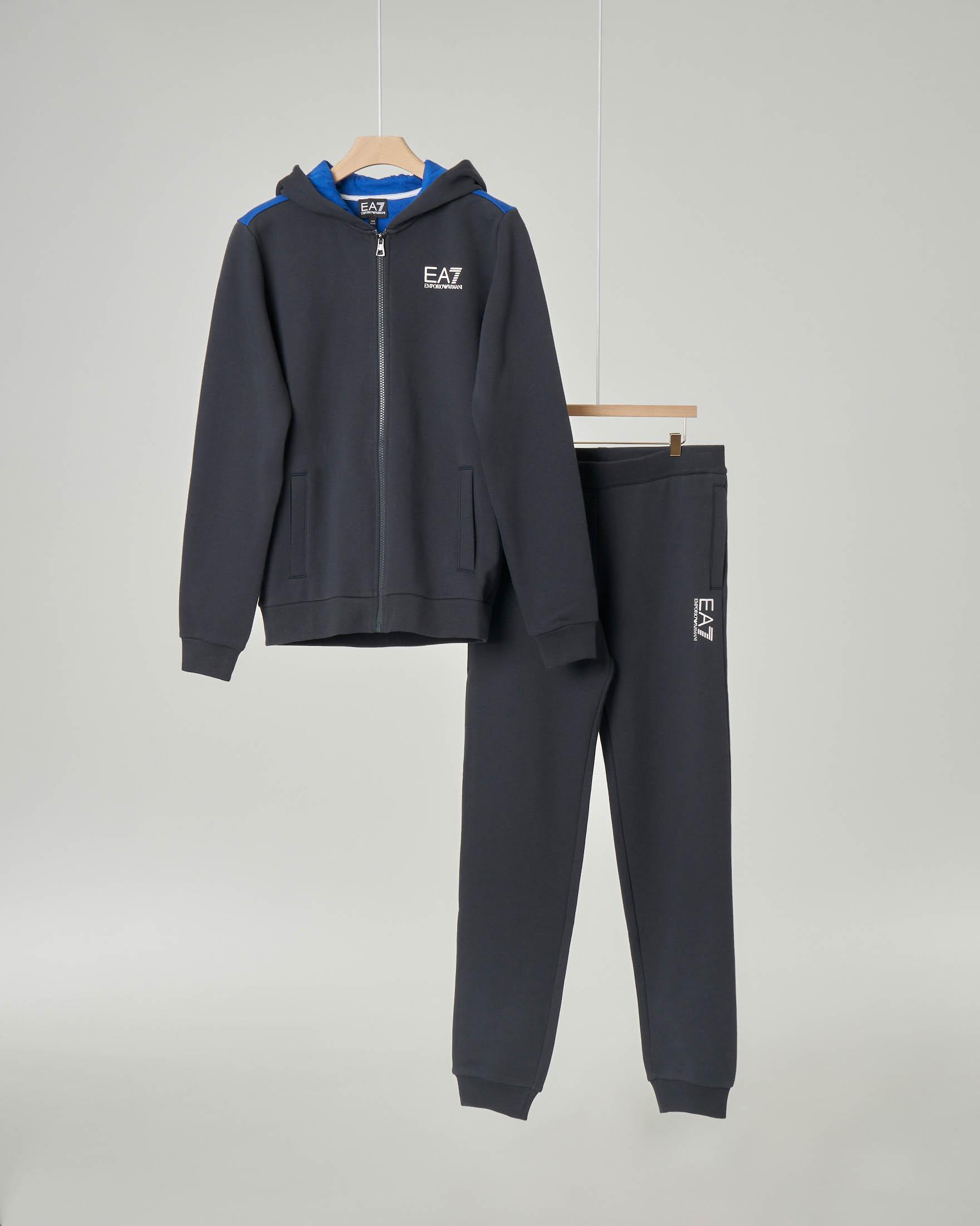 Tuta blu con cappuccio e chiusura zip 10-14 anni