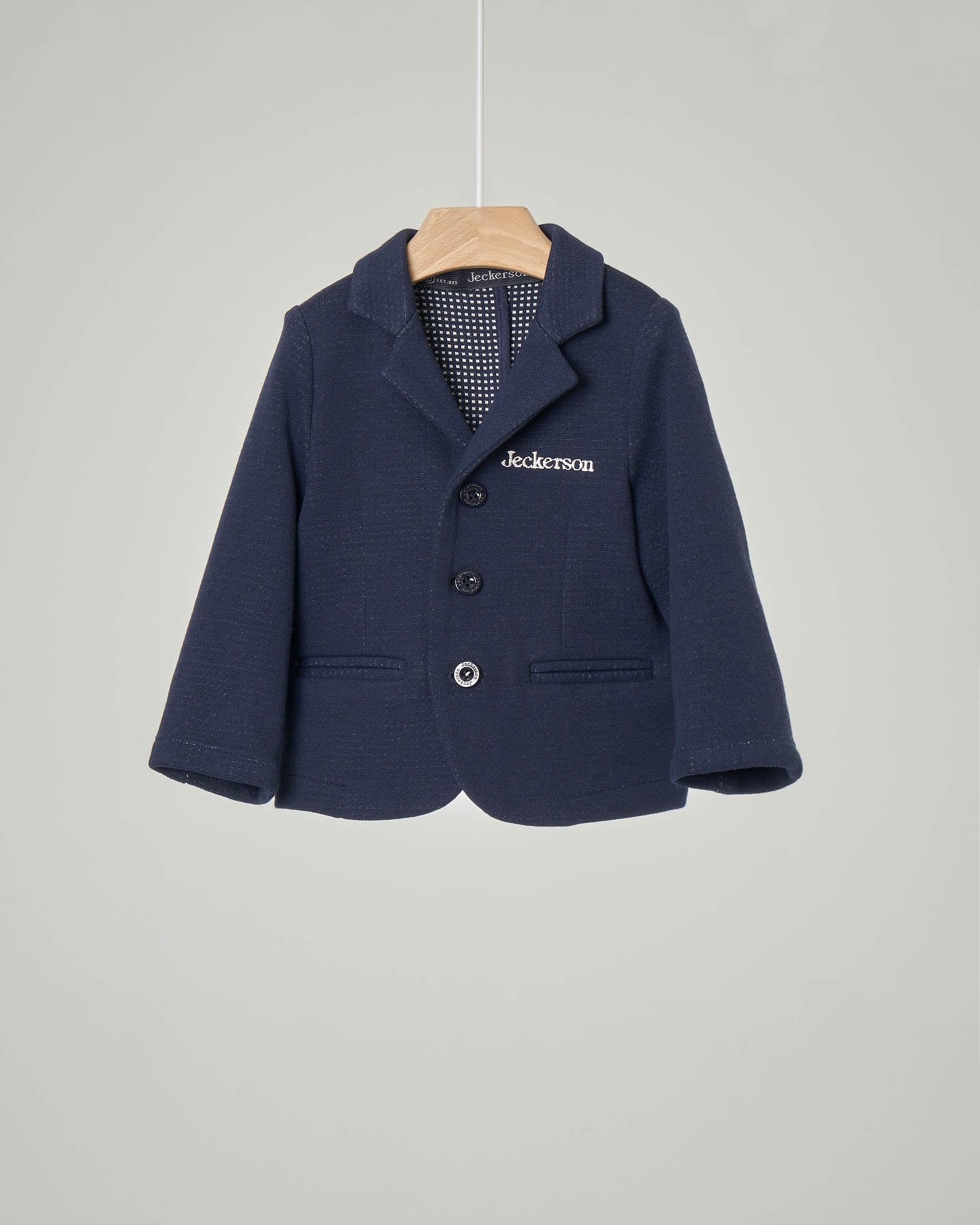 Giacca blu in felpa con chiusura a tre bottoni 6-18 mesi