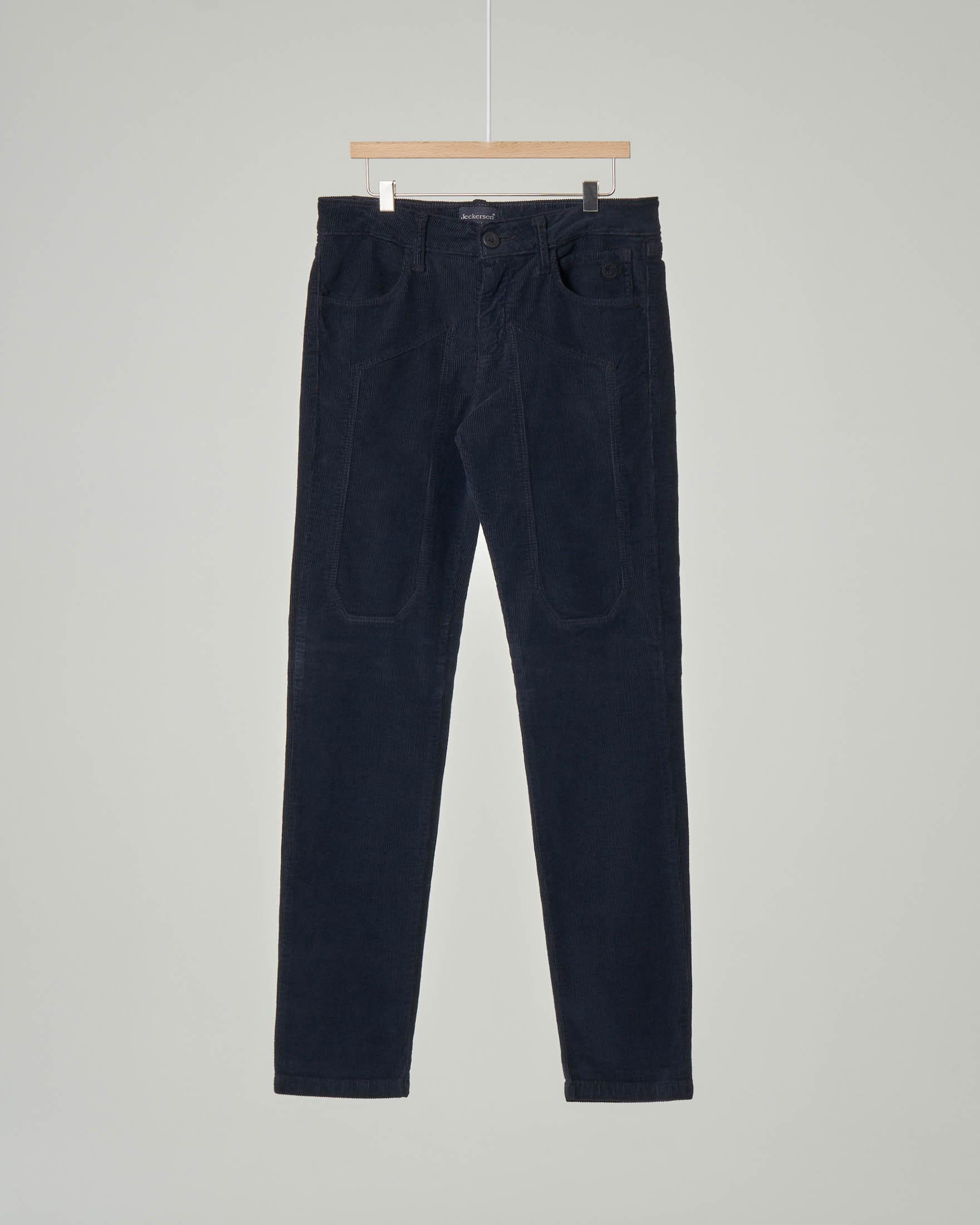 Pantalone blu cinque tasche in velluto a costine con toppa 10-18 anni