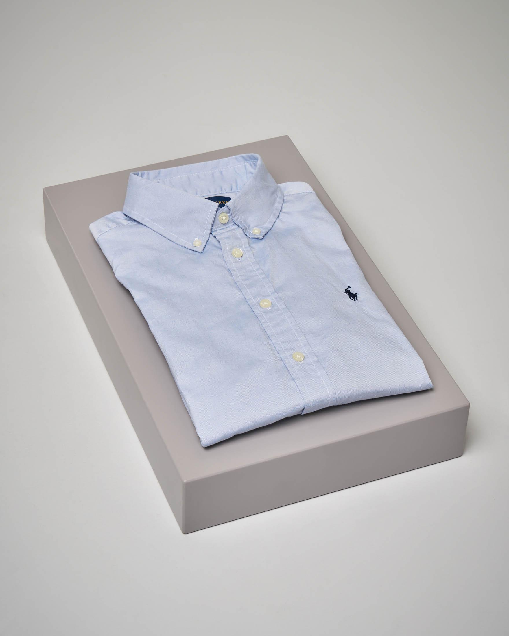 Camicia azzurra in Oxford button-down 8-16 anni