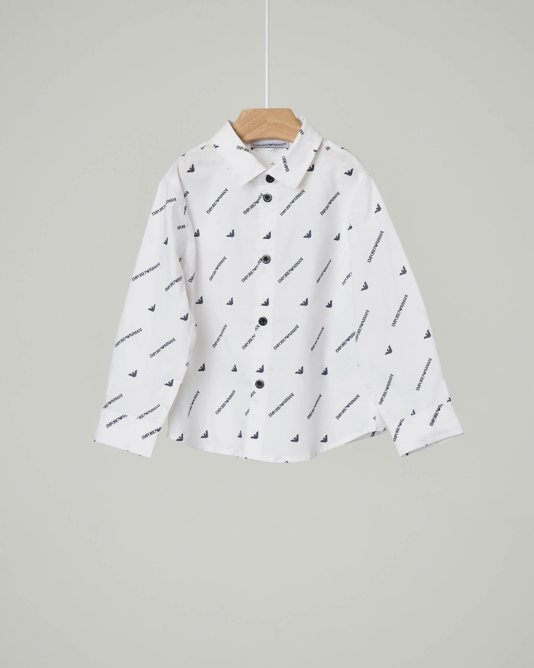 Camicia bianca in cotone stretch con logo all over 9-36 mesi