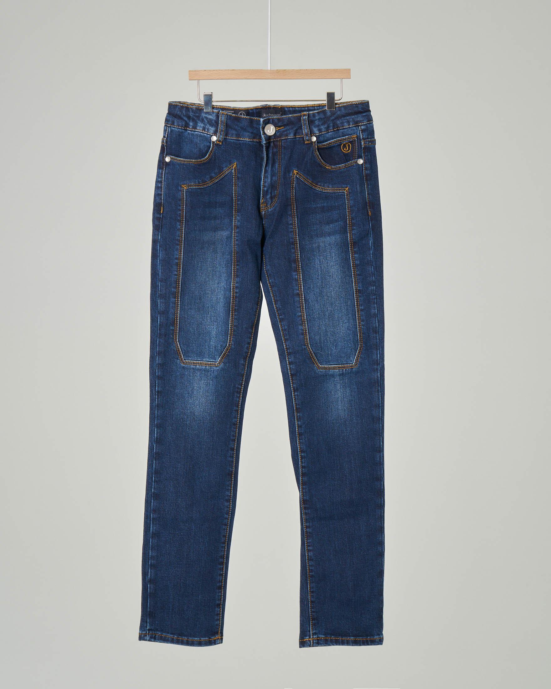 Jeans in cotone stretch lavaggio stone wash con toppe 8-18 anni