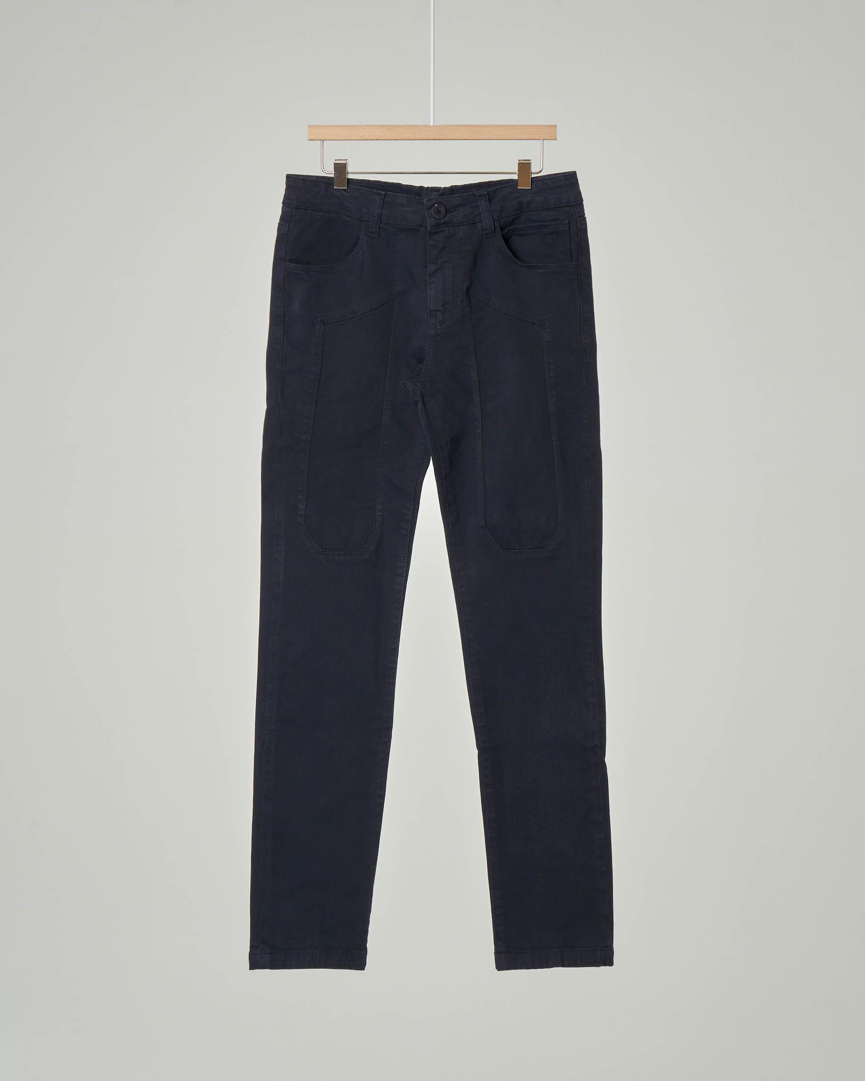 Pantalone blu cinque tasche in gabardina stretch con toppa 8-18 anni