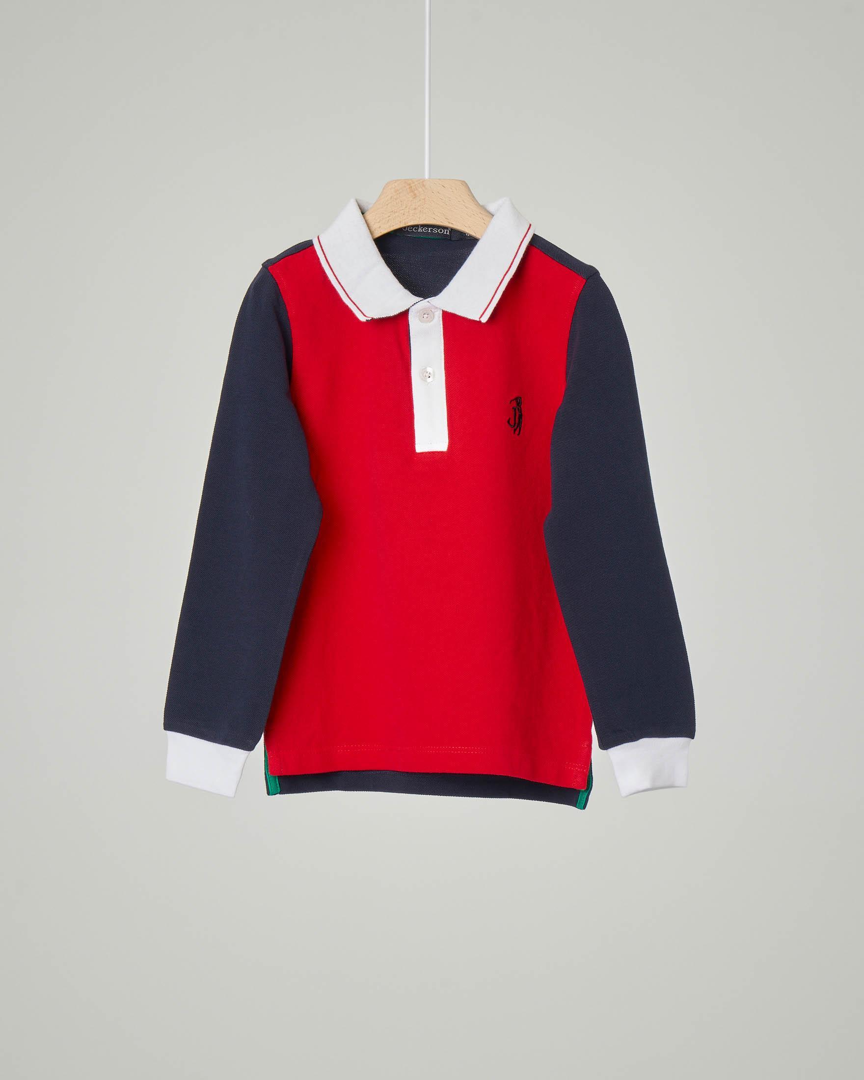 Polo rossa e blu con colletto e polsi bianchi a manica lunga 4-7 anni