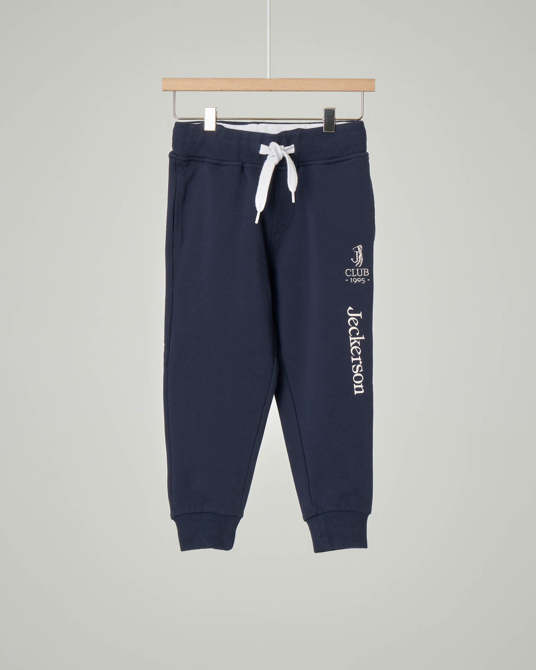 Pantalone blu in felpa con logo 3-7 anni