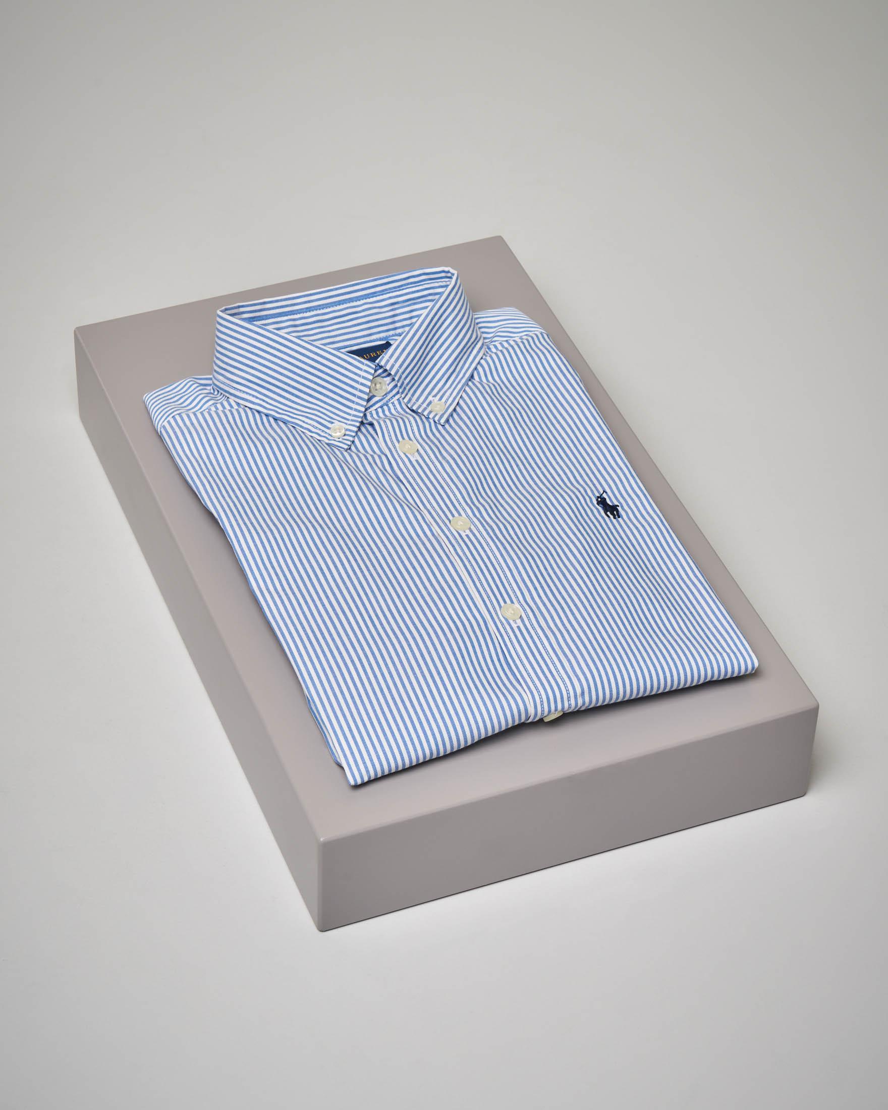Camicia bastoncino bianco azzurro in Oxford button-down 8-16 anni