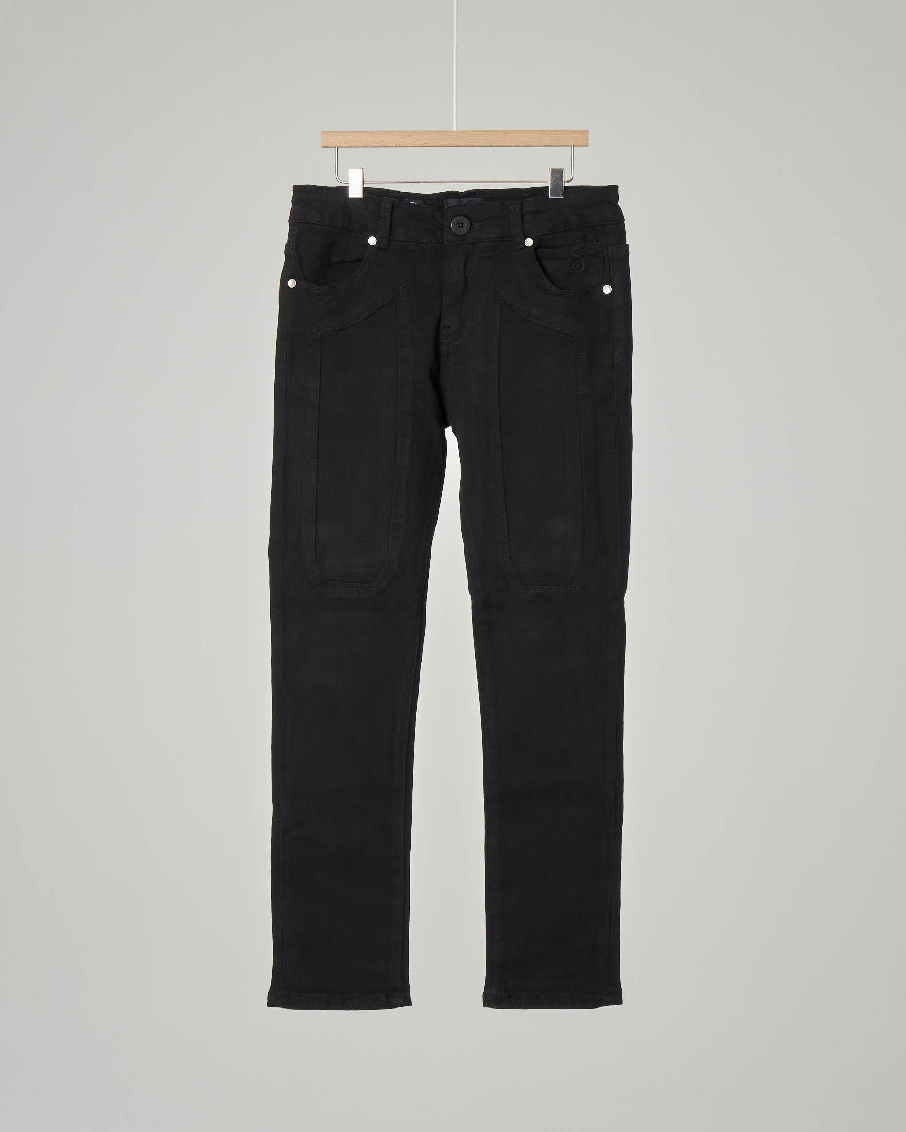 Pantalone nero cinque tasche in cotone stretch con toppa 8-18 anni