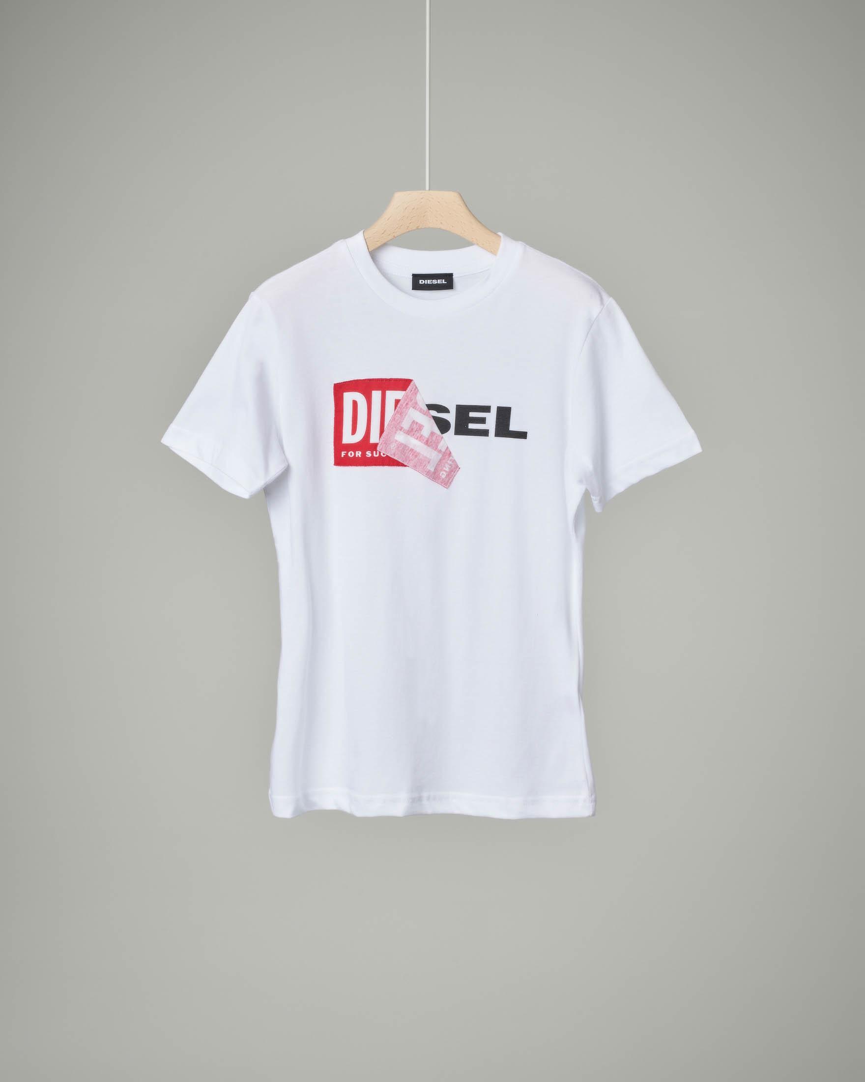 T-shirt bianca con logo sovrapposto 8-16 anni