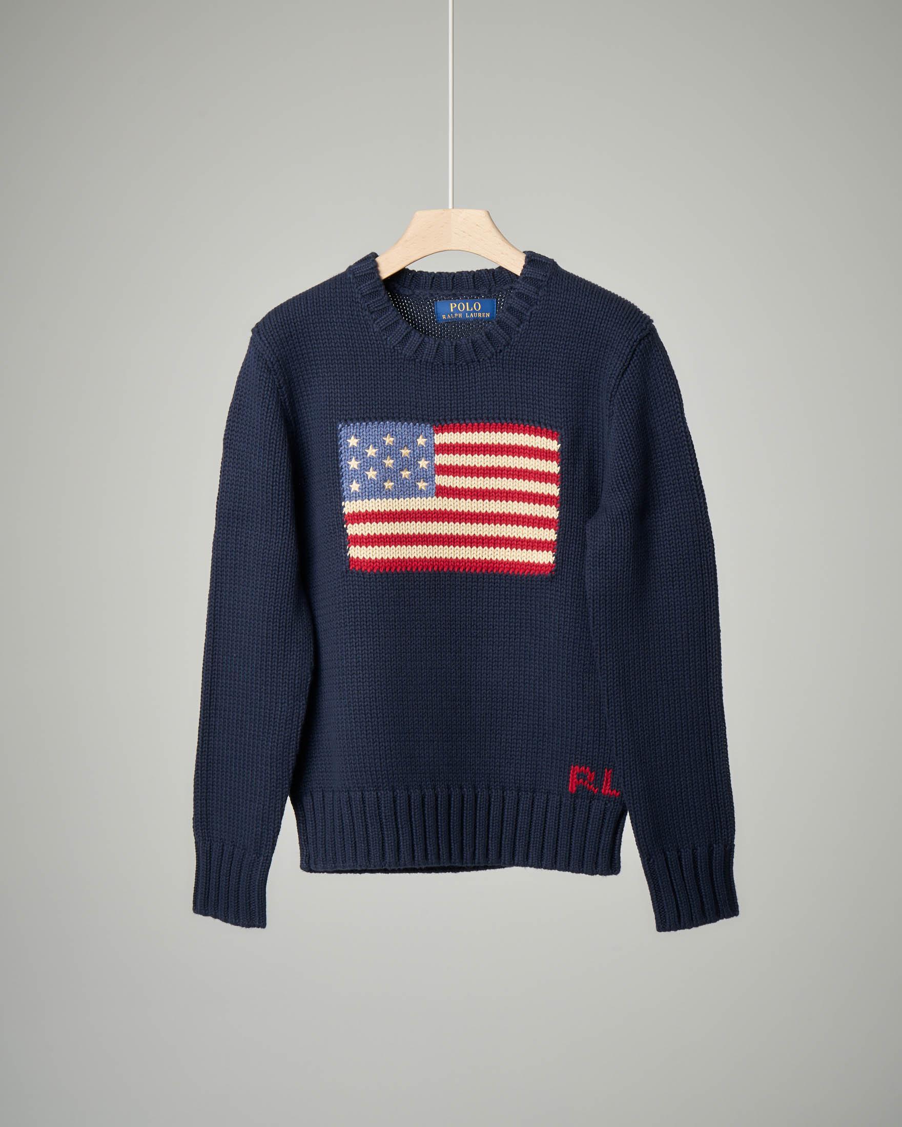 Maglia blu in cotone con bandiera USA M-XL