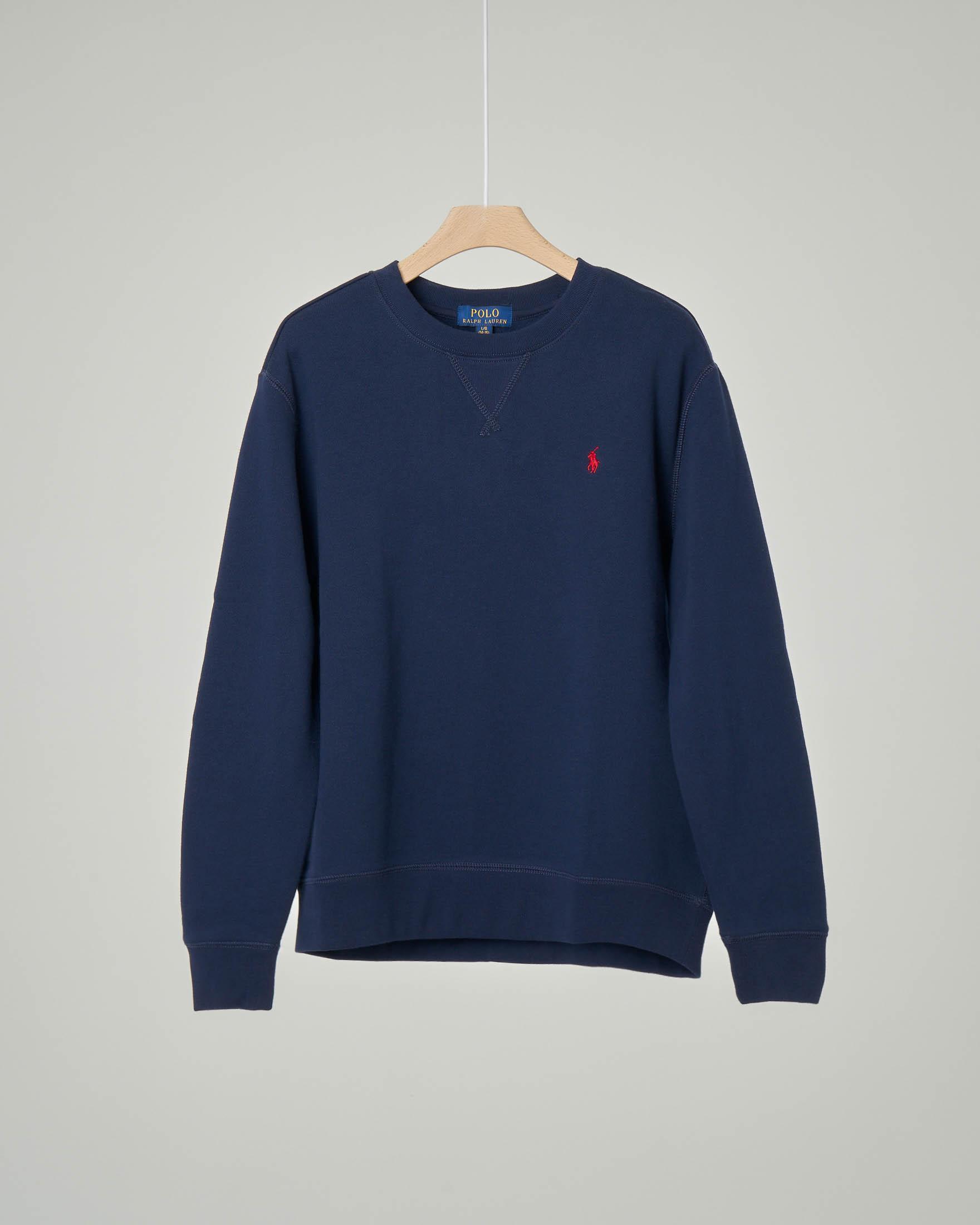 Felpa blu girocollo con logo pony rosso ricamato S-XL