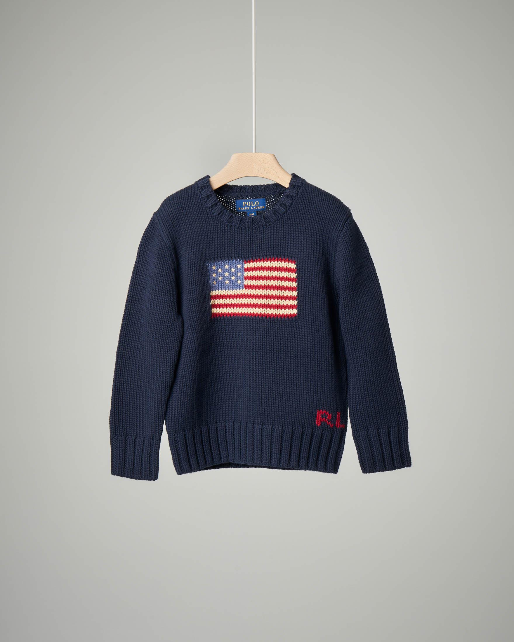 Maglia blu in cotone con bandiera USA 2-6 anni