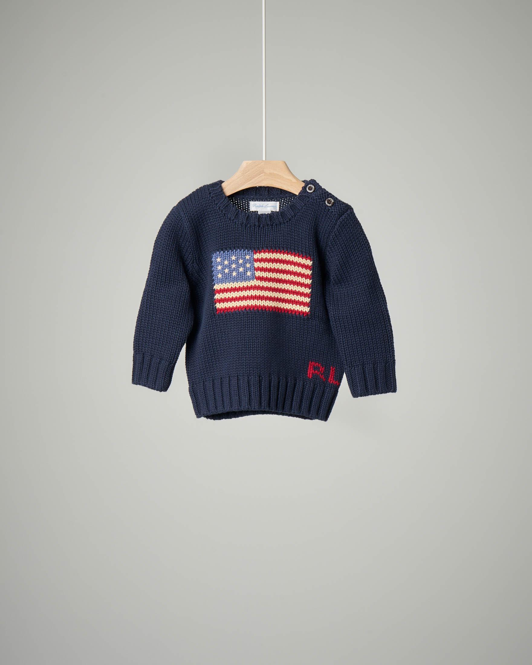 Maglia blu in cotone con bandiera USA 9-24 mesi
