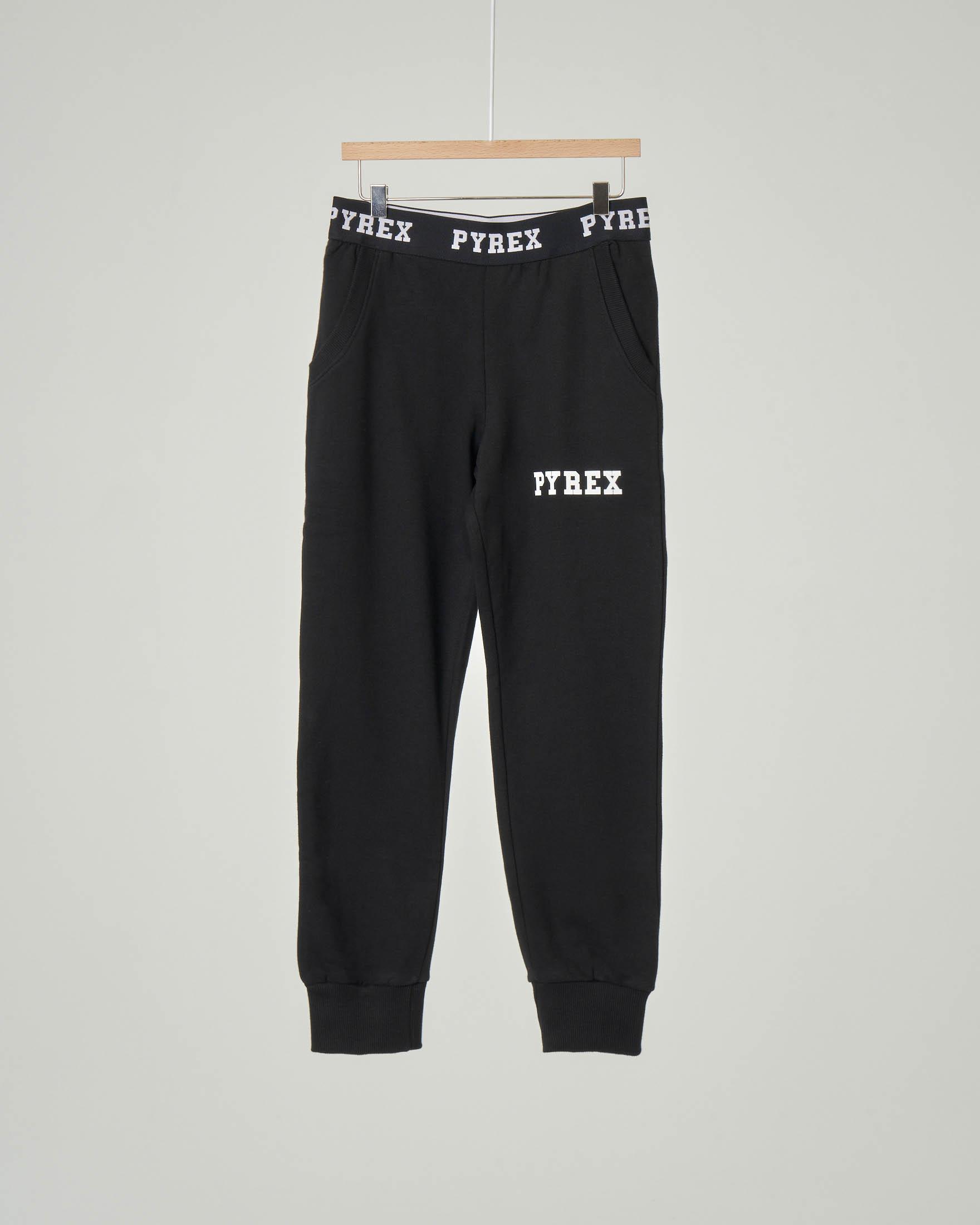 Pantalone nero in felpa con elastico in vita logato XS-2XL