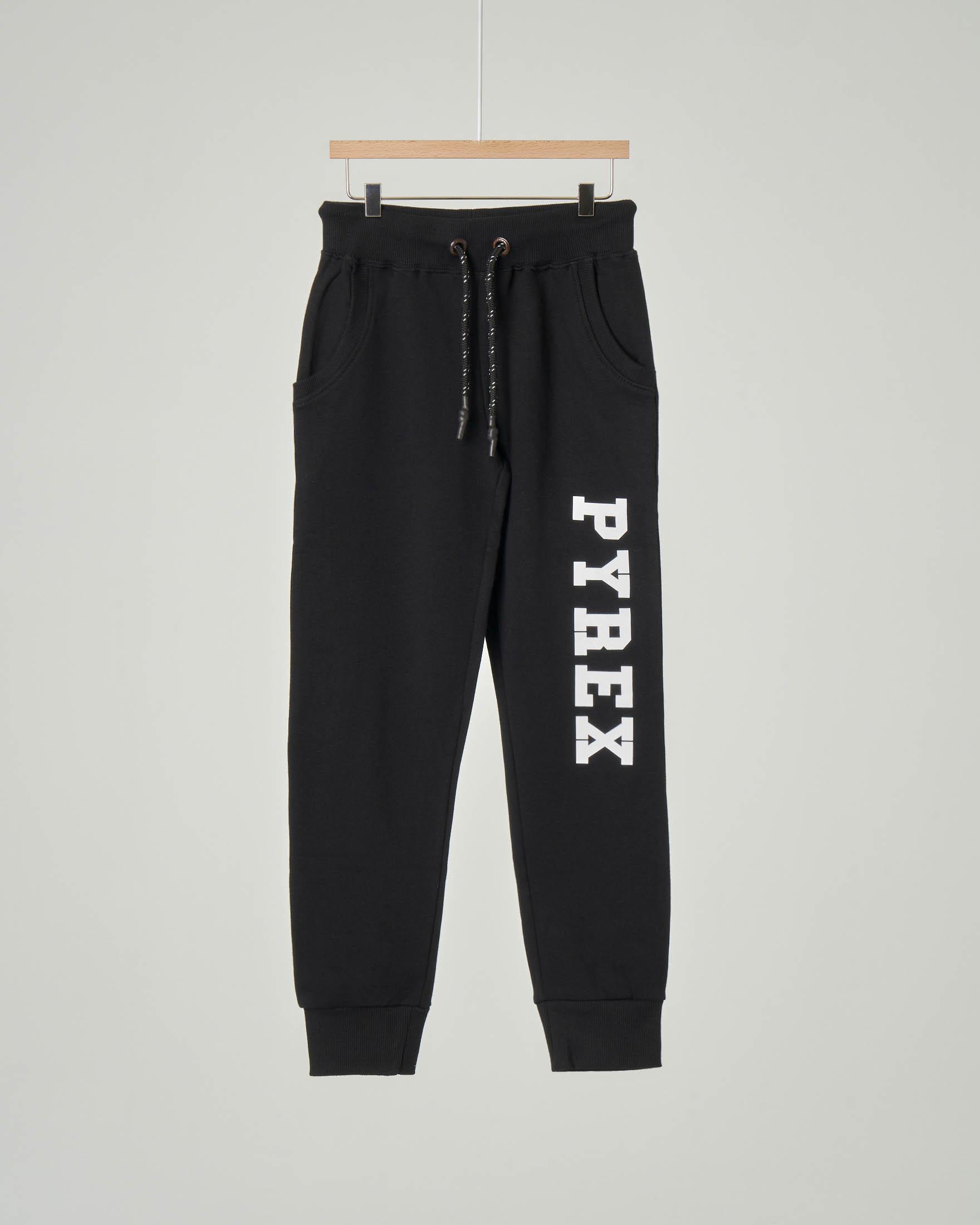 Pantalone nero in felpa con logo bianco lungo la gamba XS-2XL