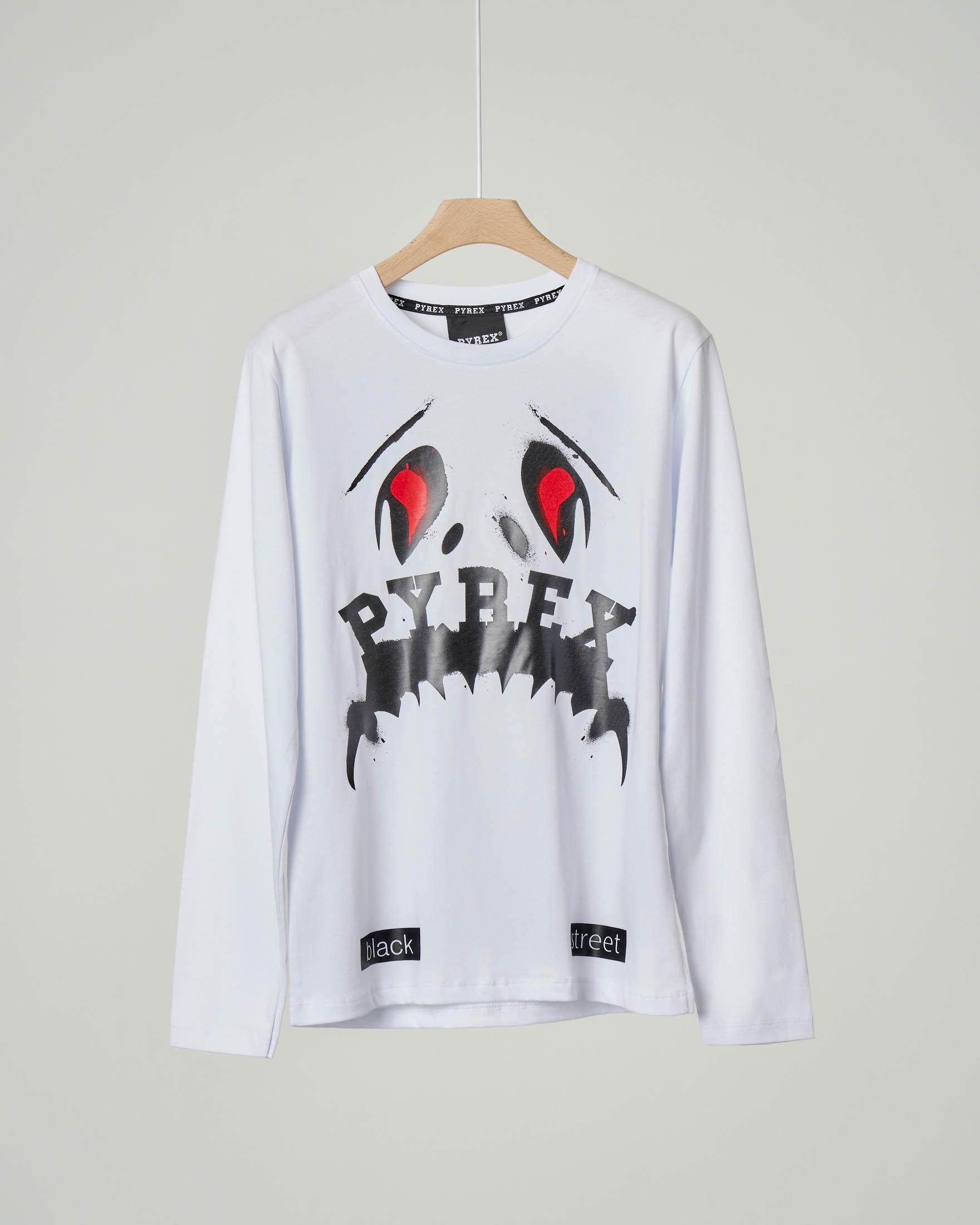 T-shirt bianca manica lunga con logo monster stampato XS-2XL