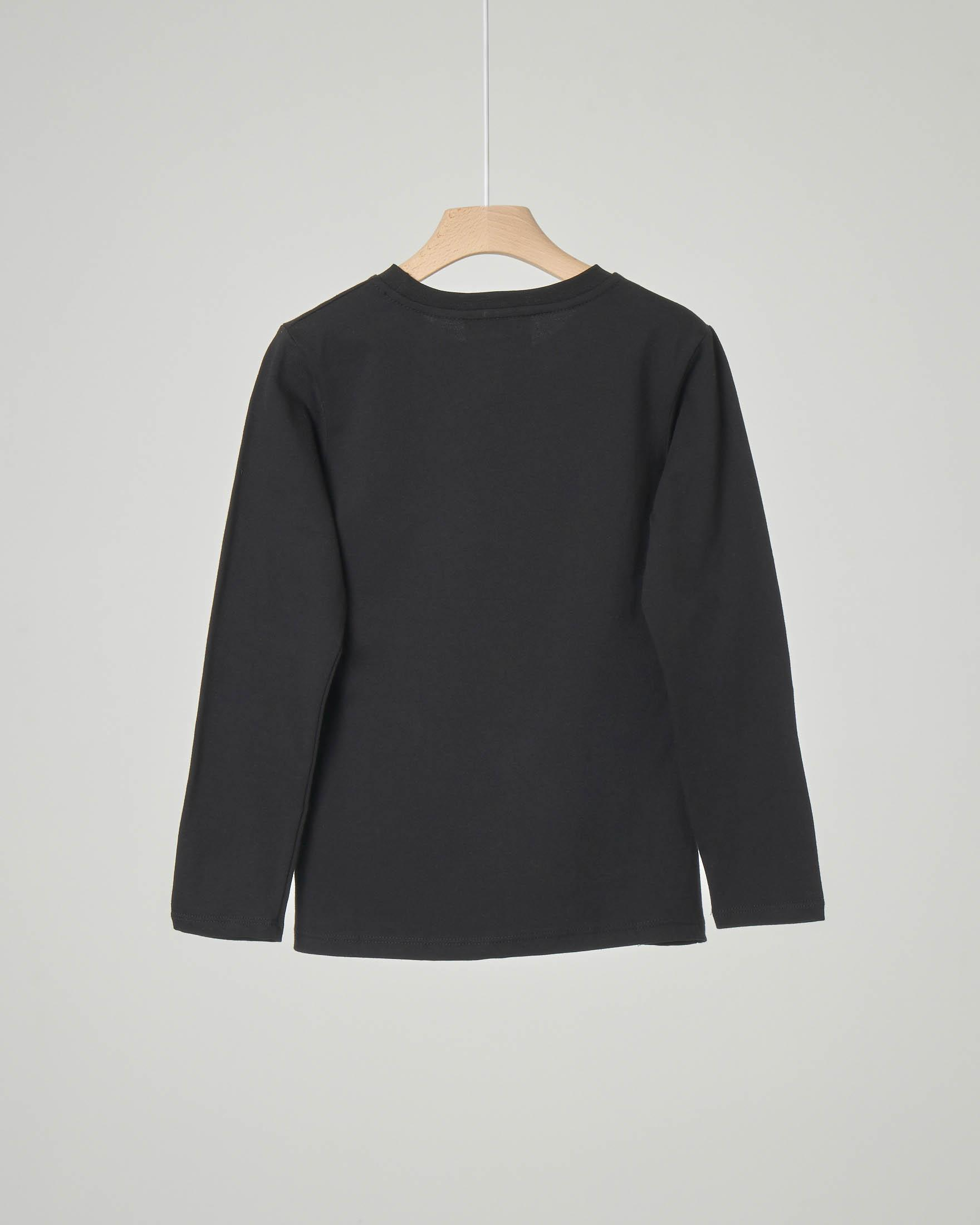 T-shirt nera manica lunga con logo in glitter argento XS-S