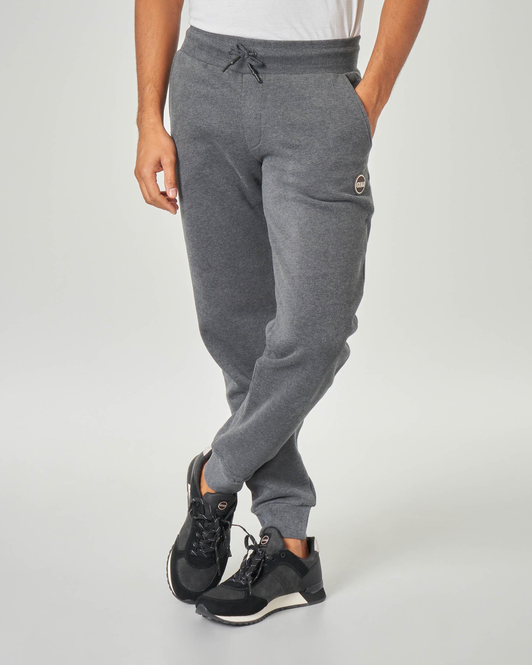 Pantalone grigio scuro in felpa garzata