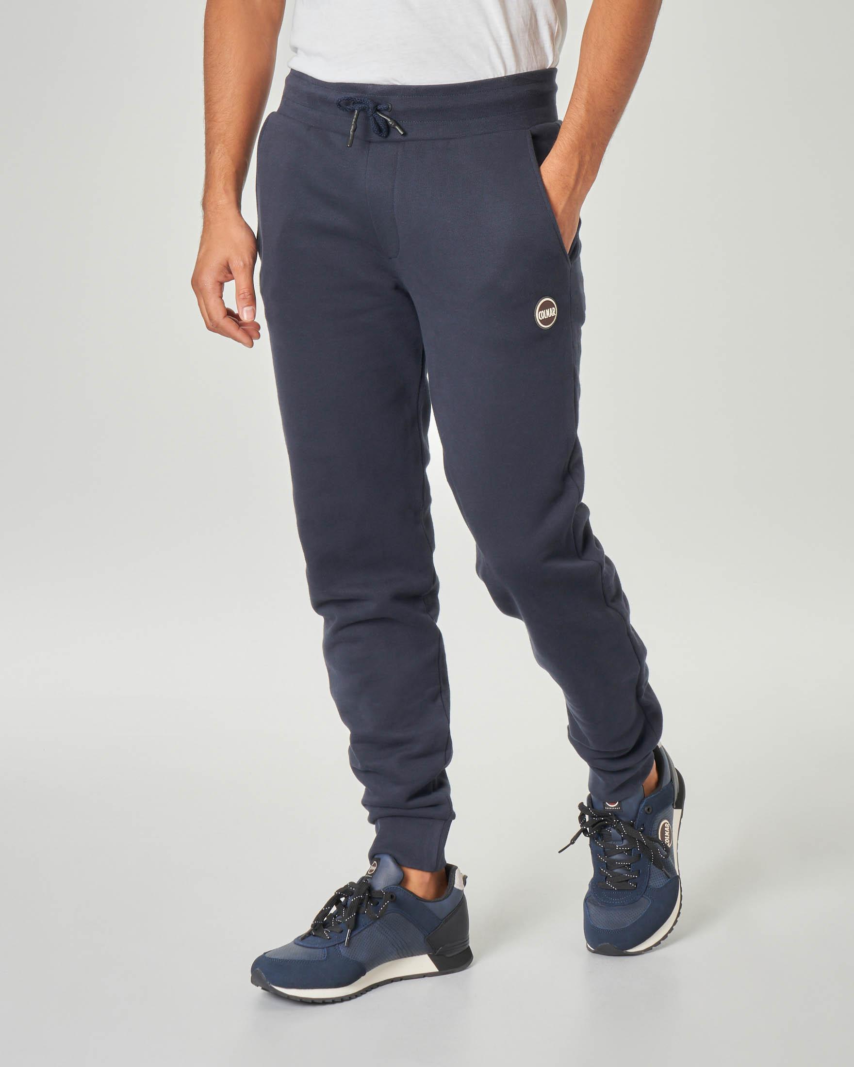 Pantalone blu in felpa garzata