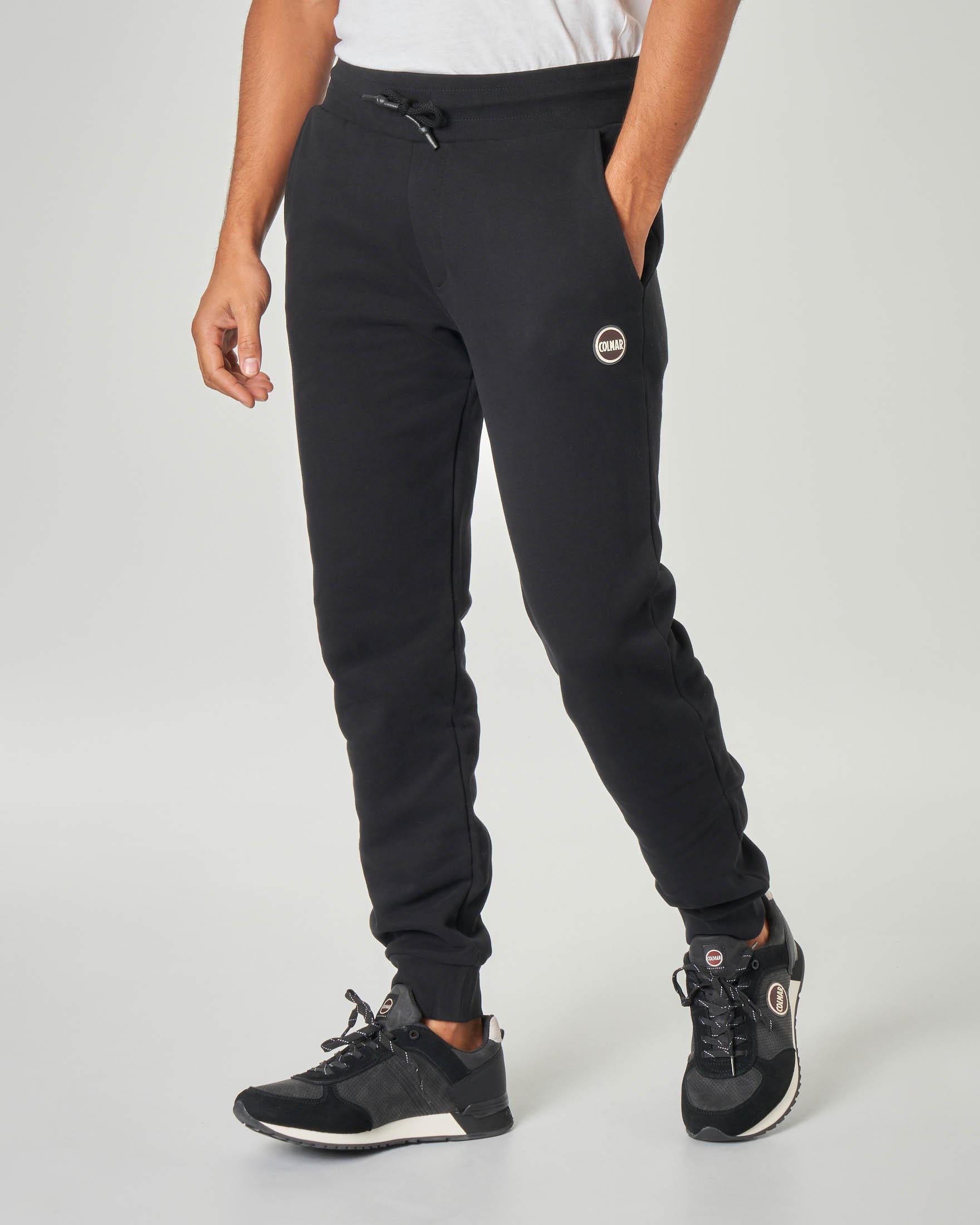 Pantalone nero in felpa garzata