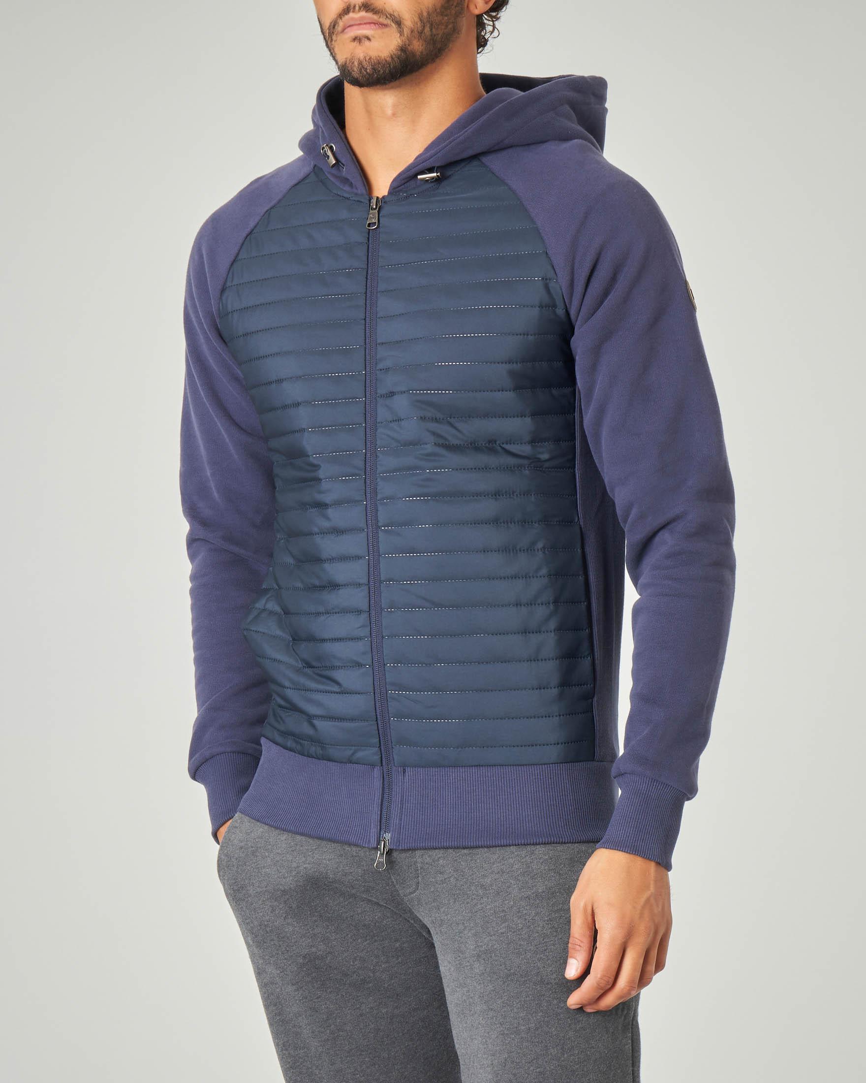 Felpa blu bi-tessuto con chiusura zip a doppio cursore e cappuccio