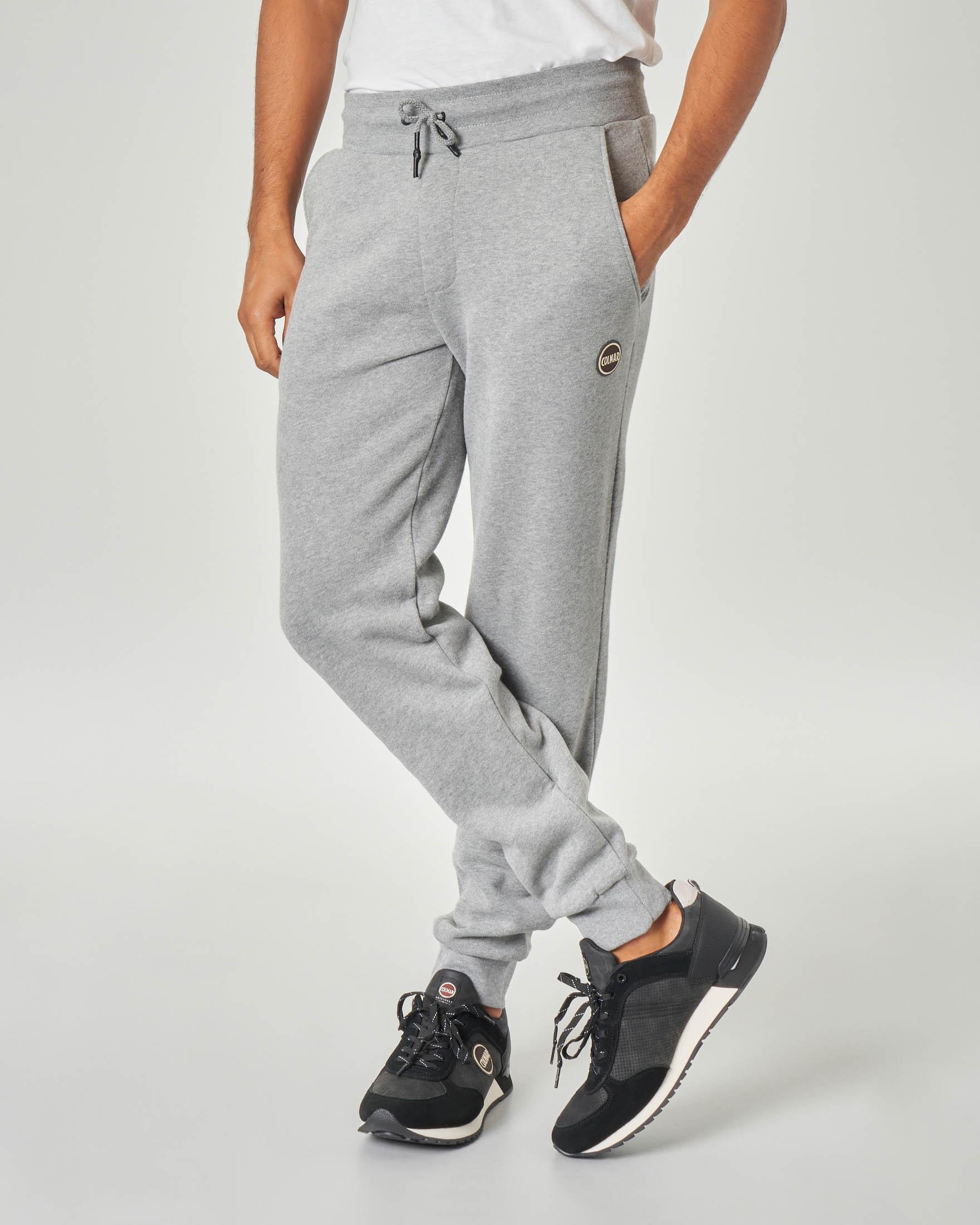 Pantalone grigio chiaro in felpa garzata