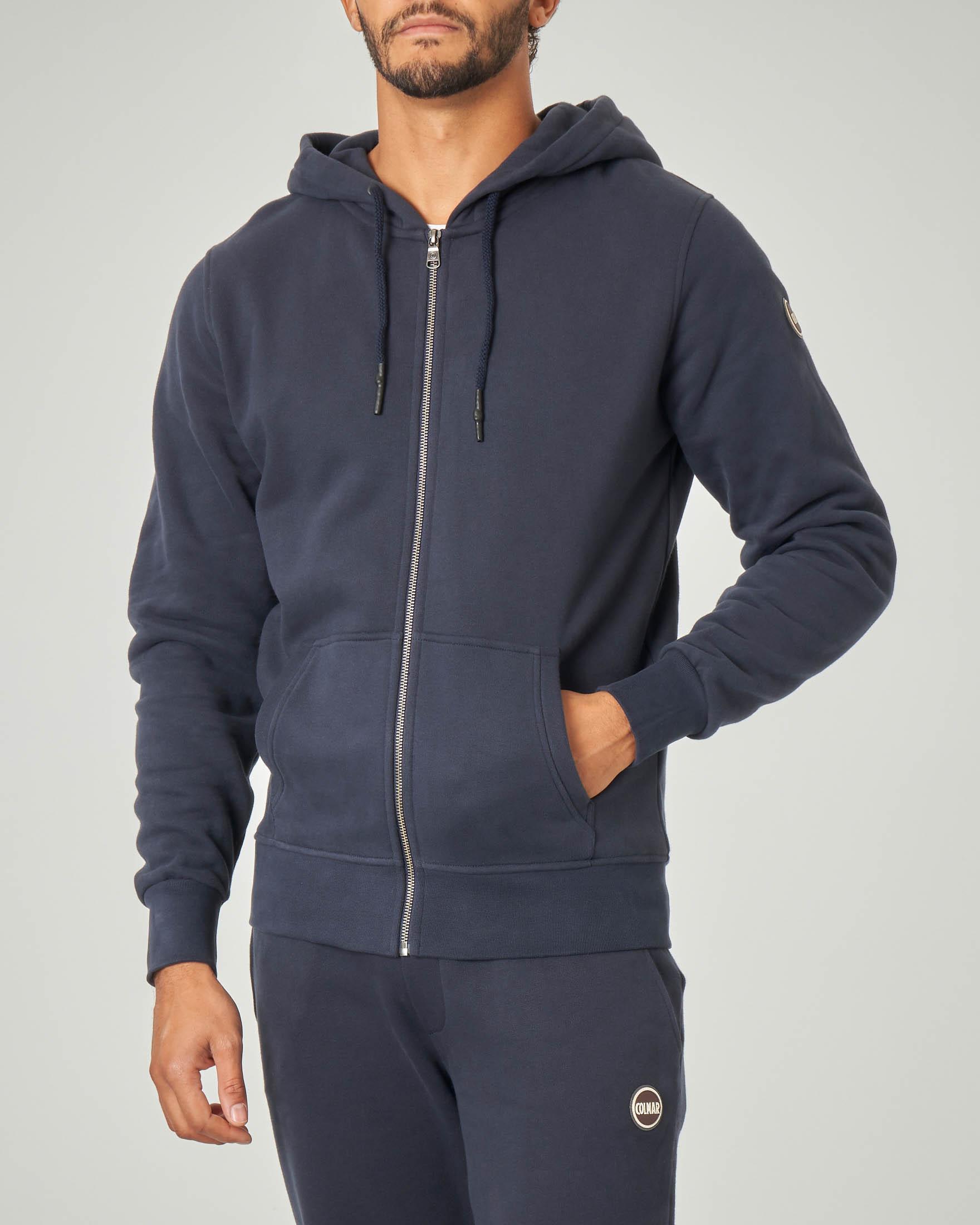 Felpa blu con cappuccio e chiusura zip | Pellizzari E commerce
