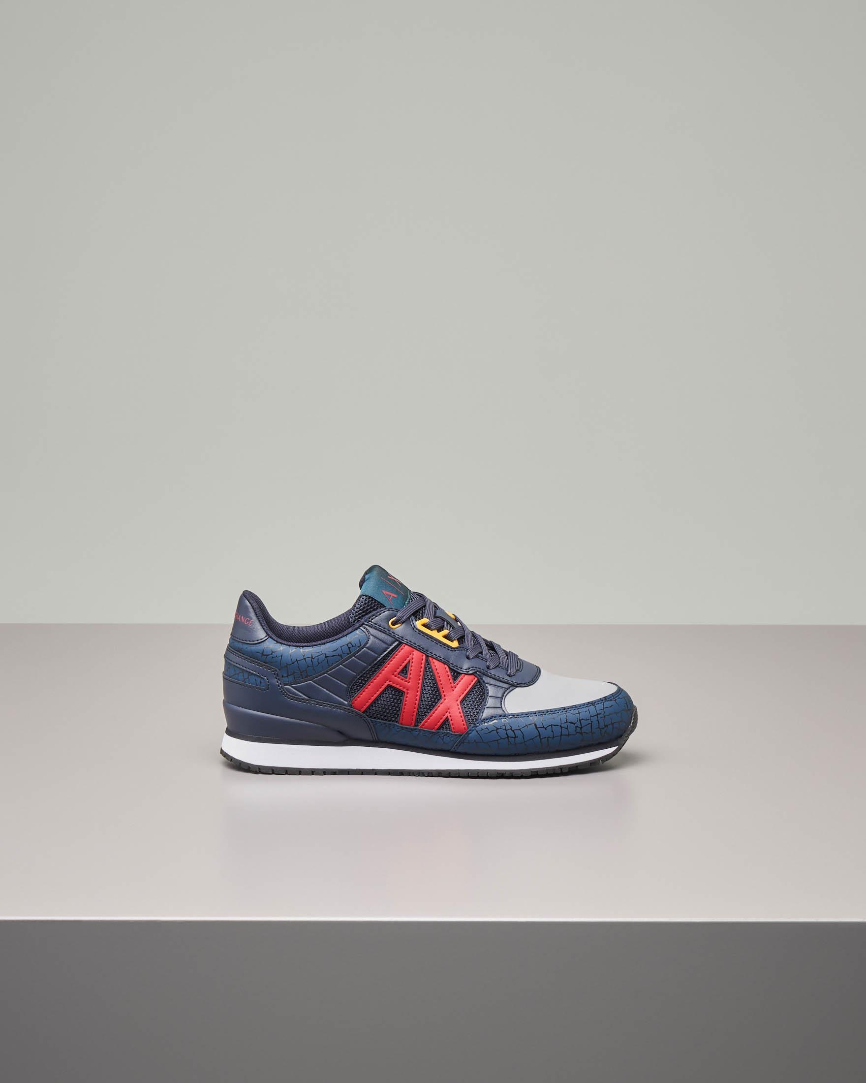 Sneakers blu in ecopelle e mesh con logo AX rosso