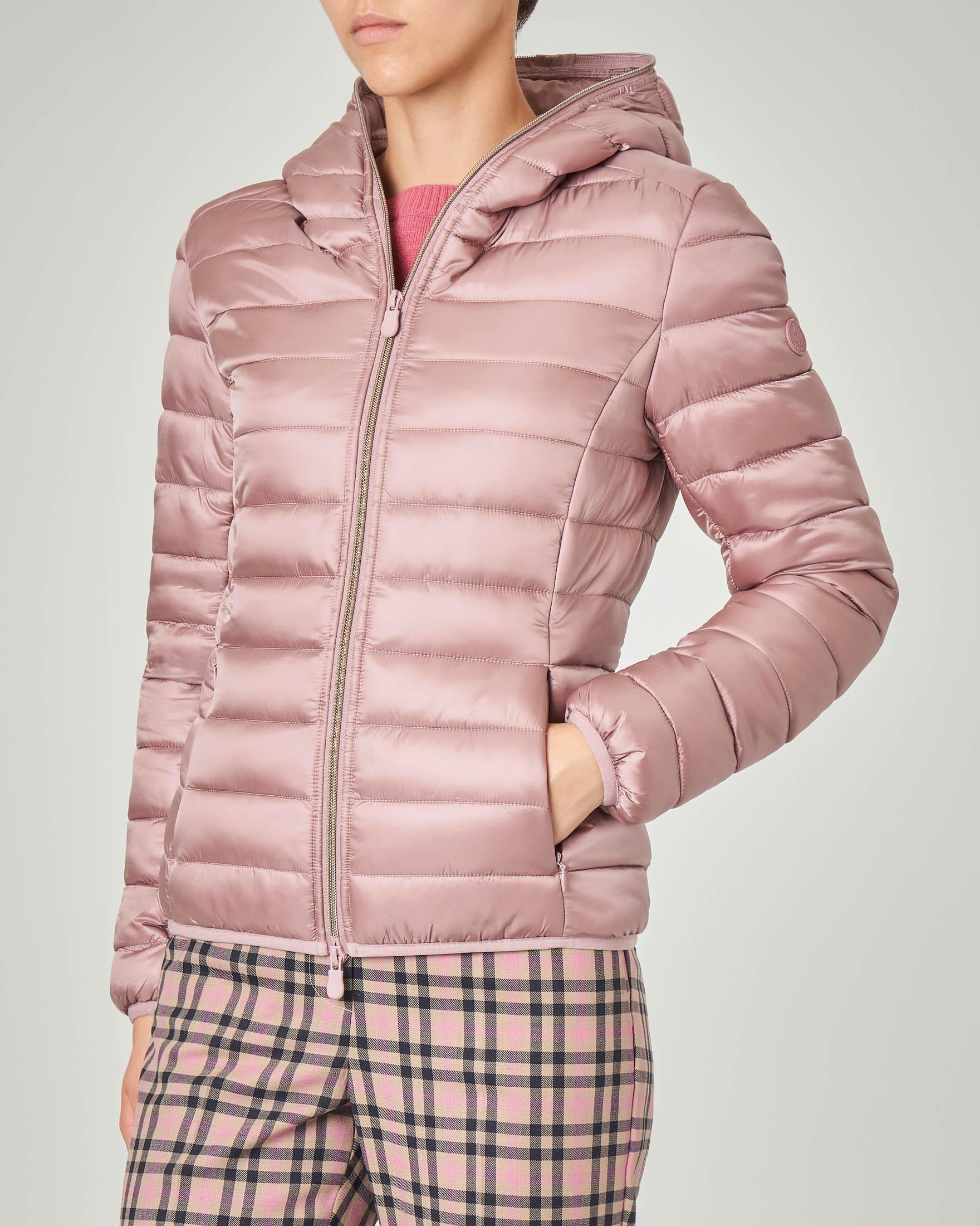 Piumino corto rosa ancitoc sfiancato con cappuccio