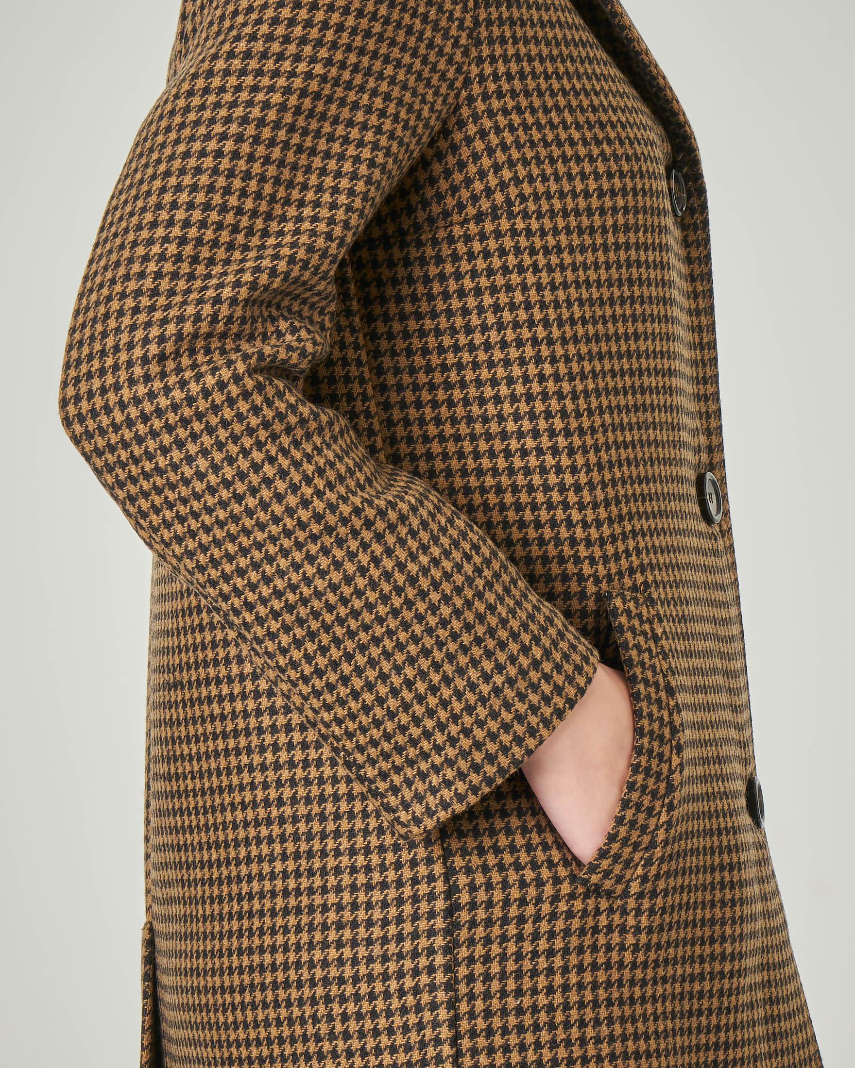 Cappottino in misto lana a fantasia pied de poule nero e cammello