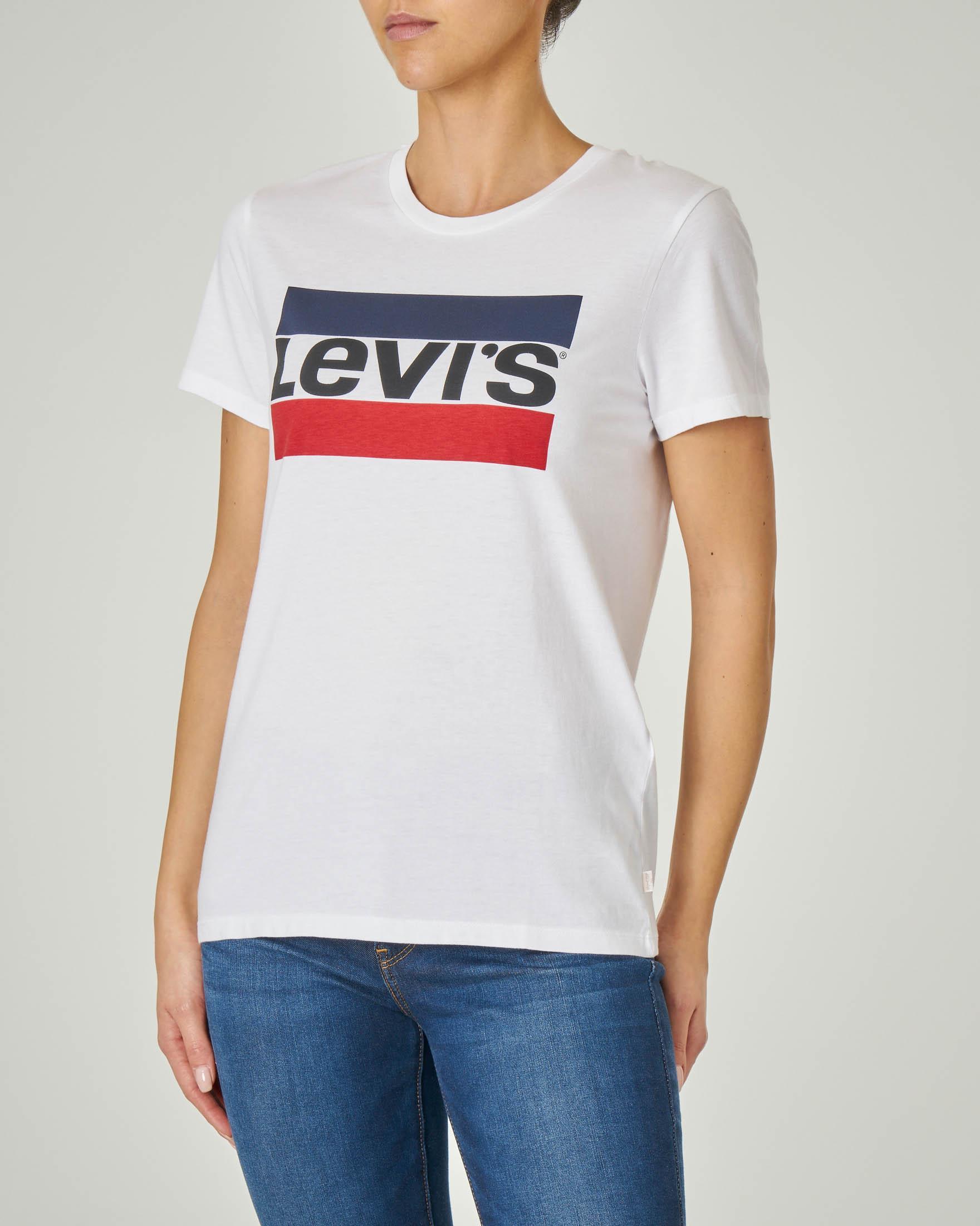 T-shirt maniche corte bianca in cotone con scritta logo stampata a blocchi di colore
