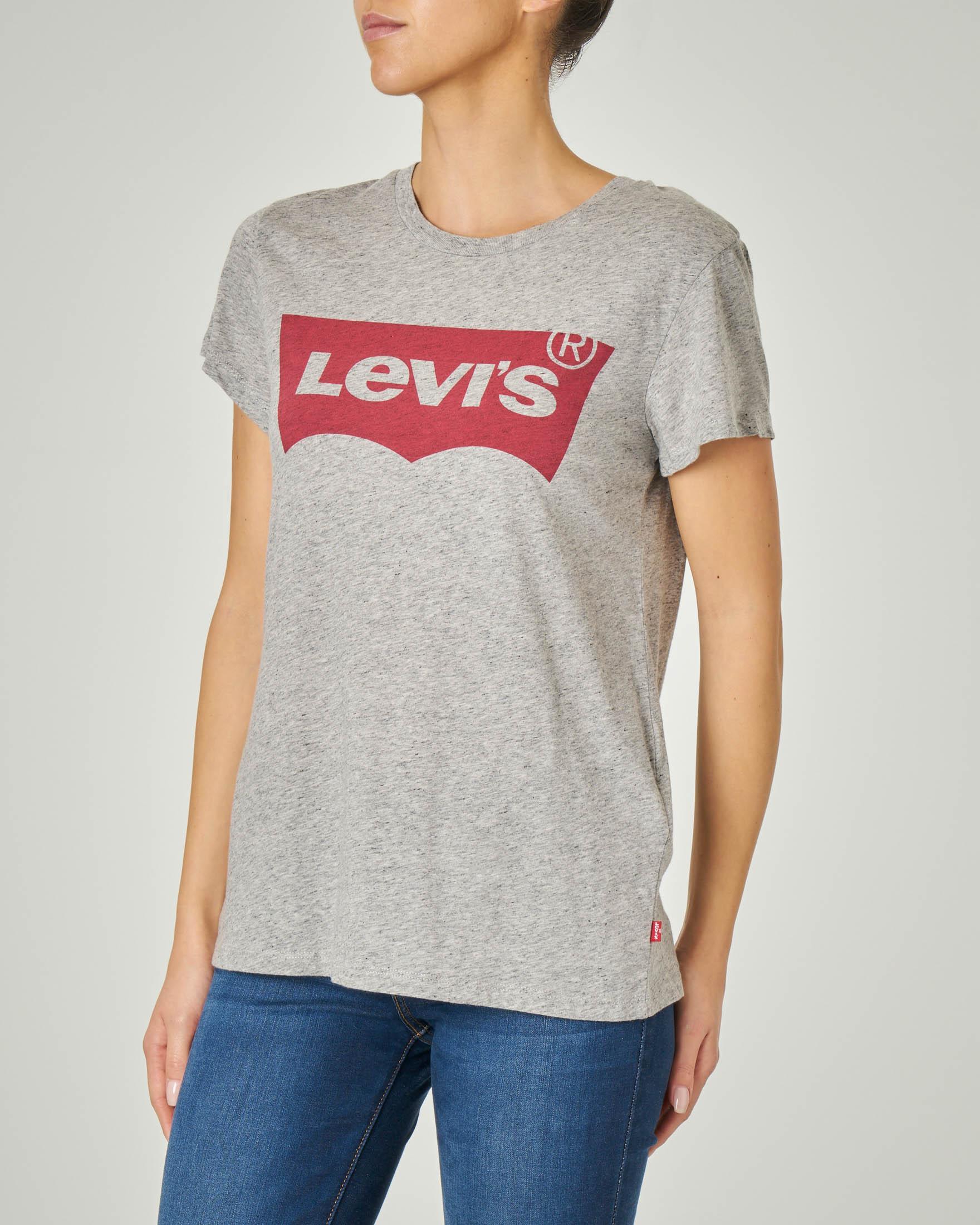 T-shirt maniche corte grigia in cotone con batwing stampata